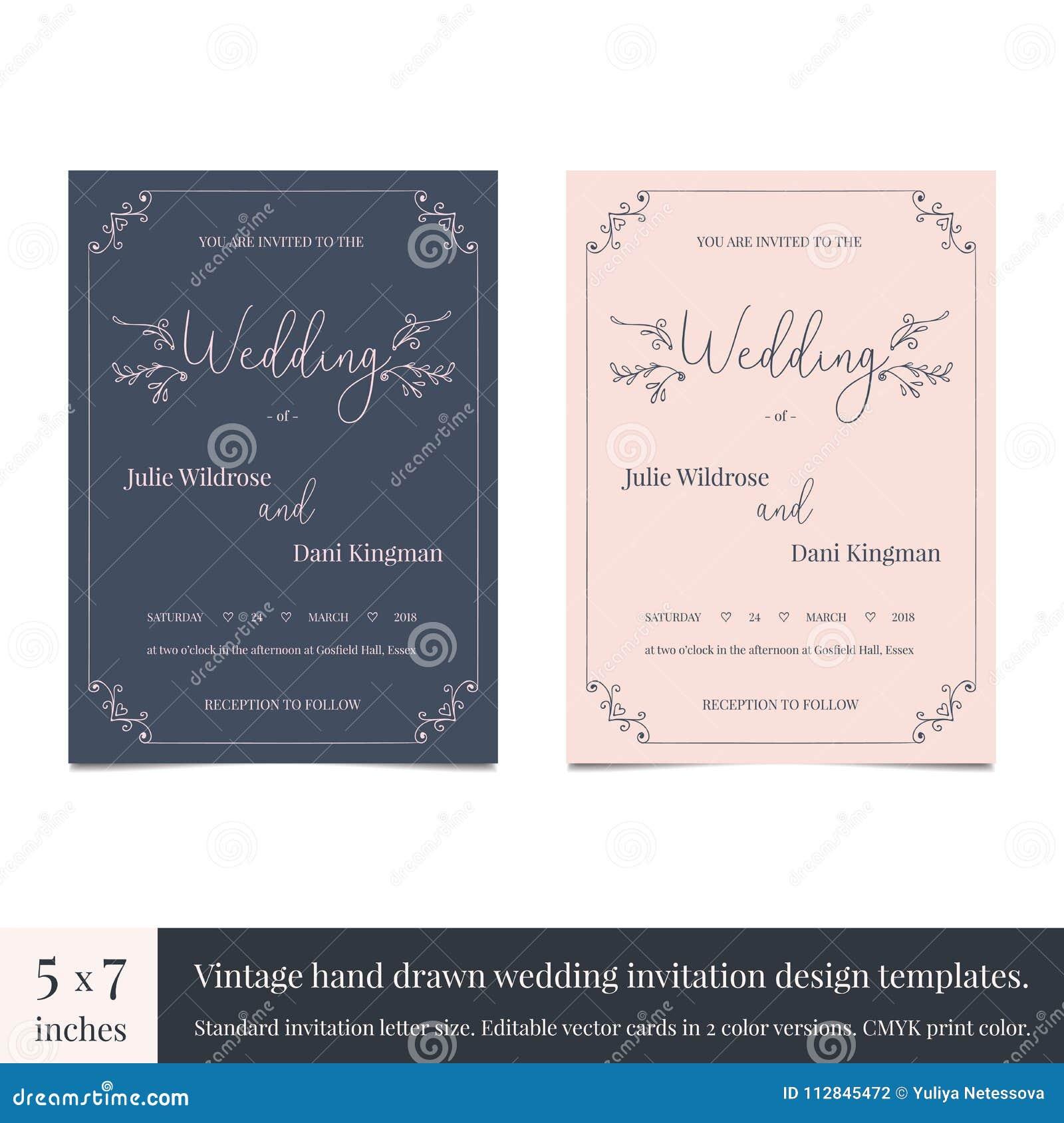 Molde tirado mão do projeto dos convites do casamento da garatuja Entregue o projeto de cartão tirado do casamento dos convites c