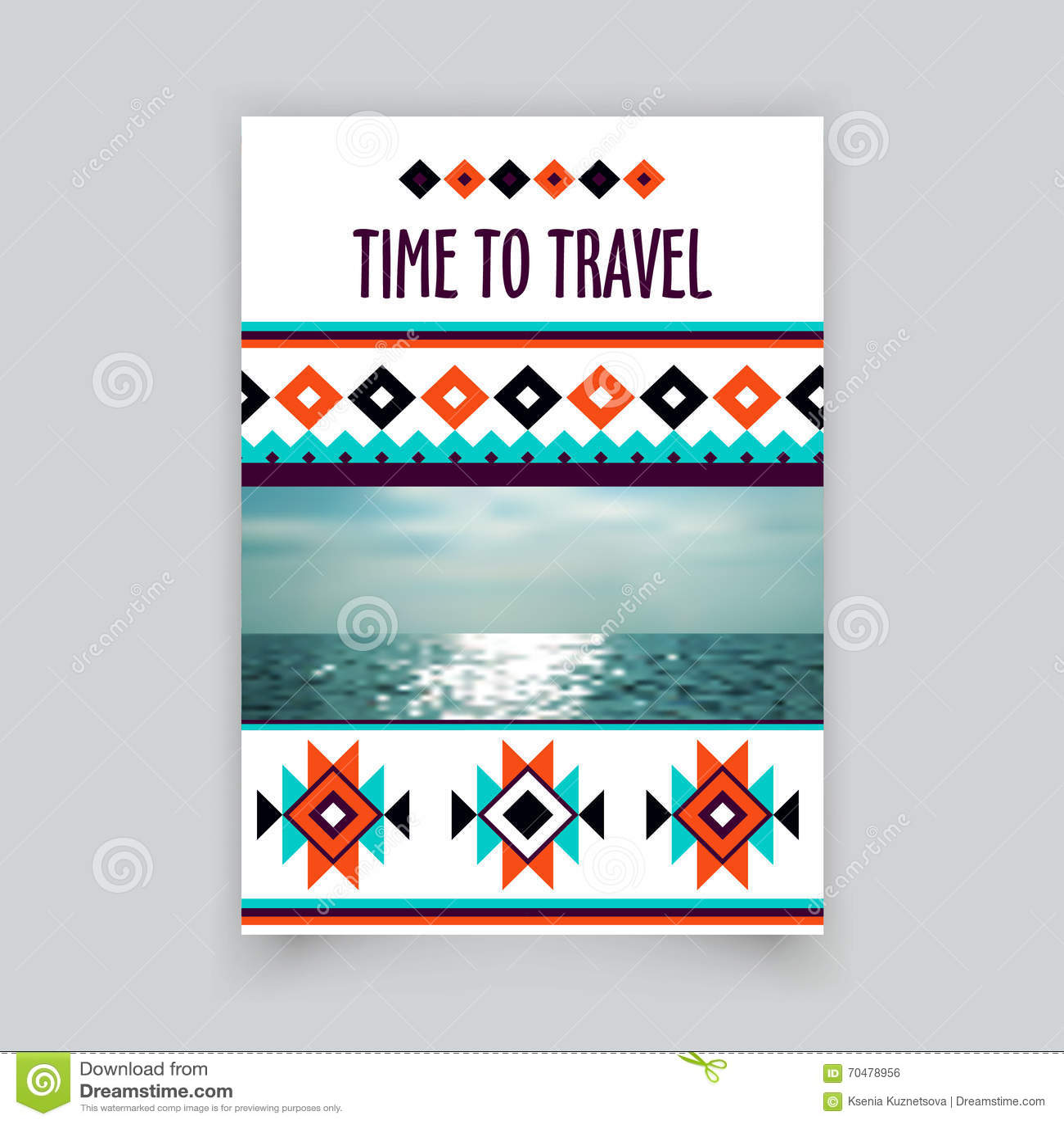 Molde vazio incorporado do folheto do vetor Projeto tribal do folheto Projeto da disposição da tampa Vetor incorporado do folheto