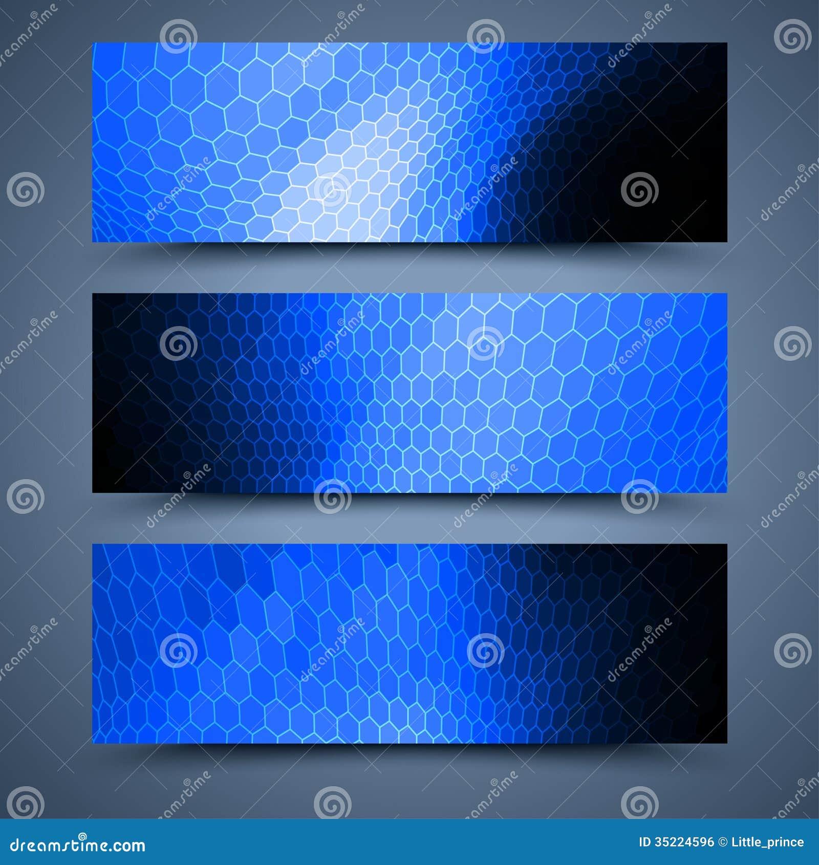 Moldes azuis das bandeiras. Fundos abstratos