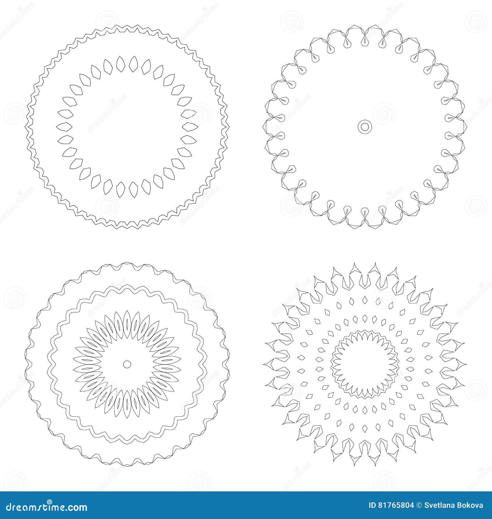 Moldes Circulares Do Projeto Testes Padrões Decorativos Redondos