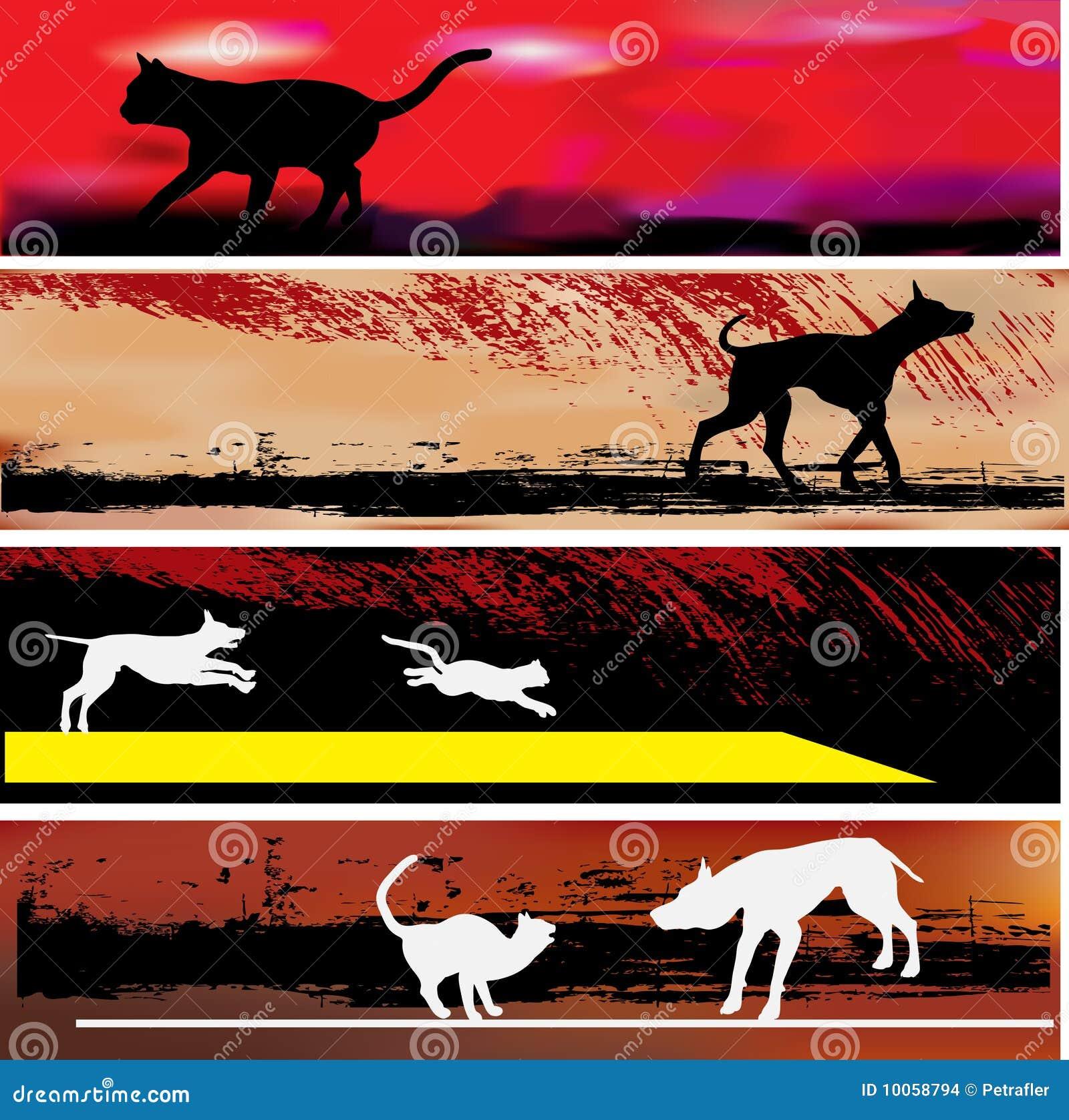 Moldes da bandeira do Web do gato e do cão