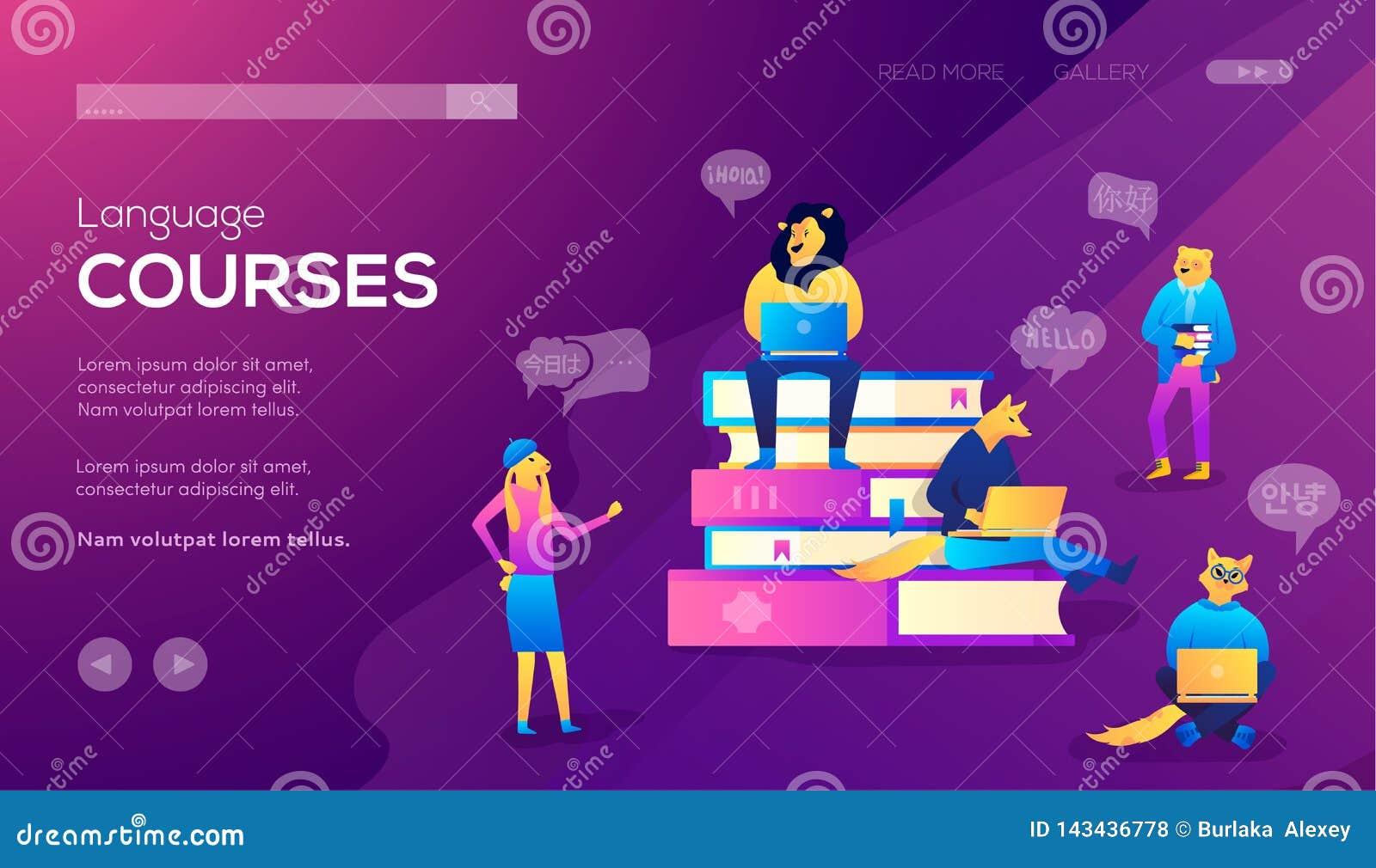 Moldes de aterrissagem da página para cursos de línguas, o ensino à distância, o treinamento e webinars em linha