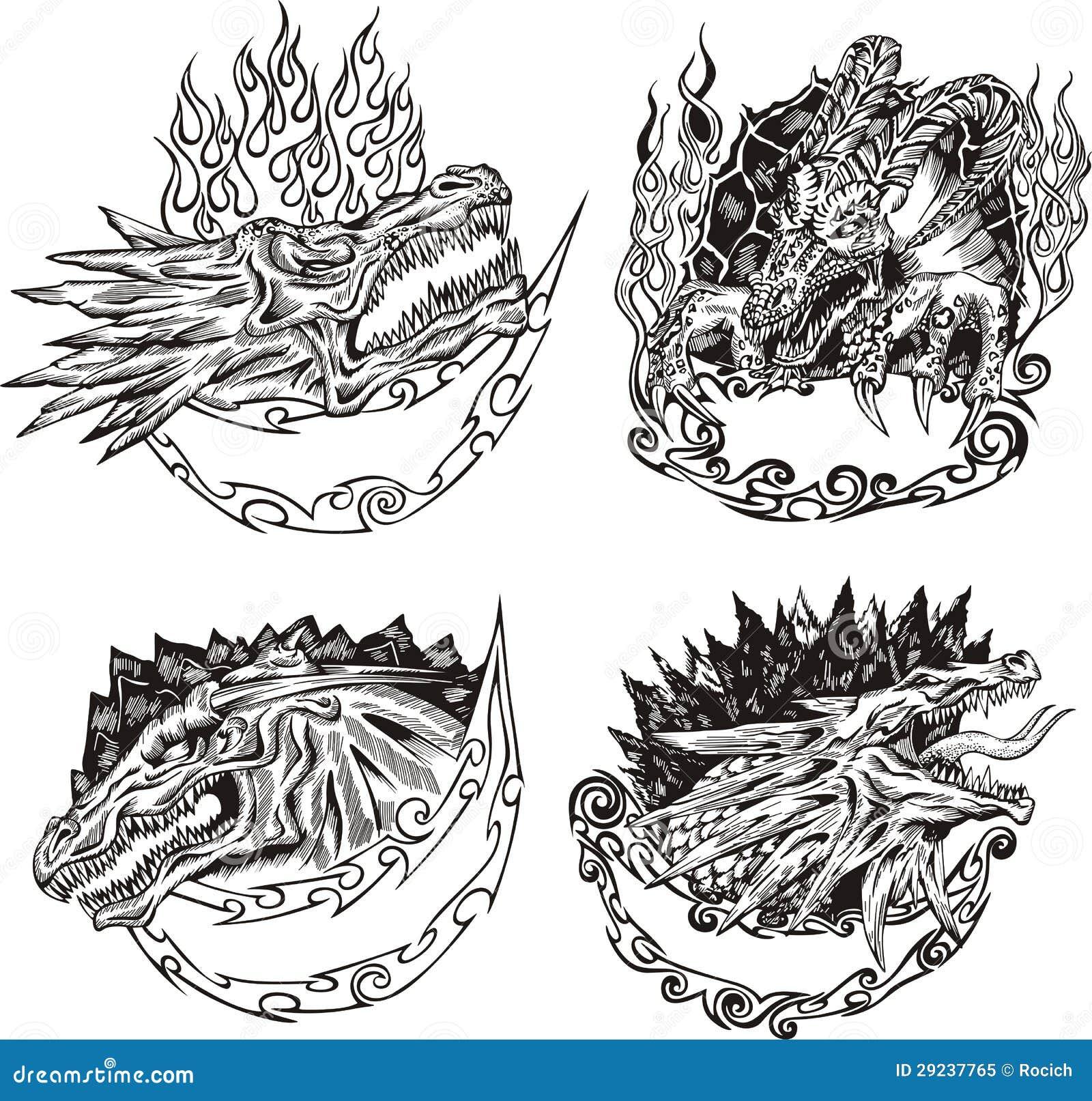 Download Moldes Decorativos Com Cabeças Do Dragão Ilustração do Vetor - Ilustração de cabeça, arte: 29237765
