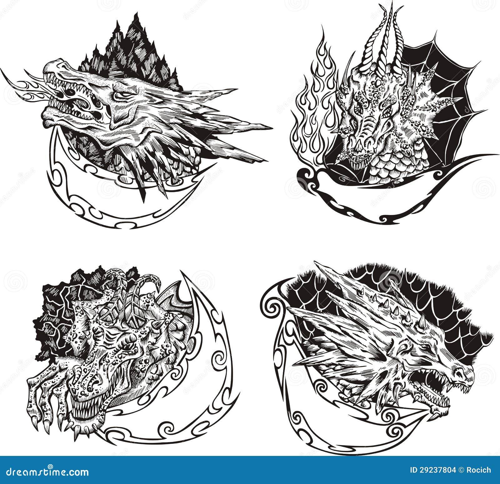 Download Moldes Decorativos Com Cabeças Do Dragão Ilustração do Vetor - Ilustração de besta, preto: 29237804
