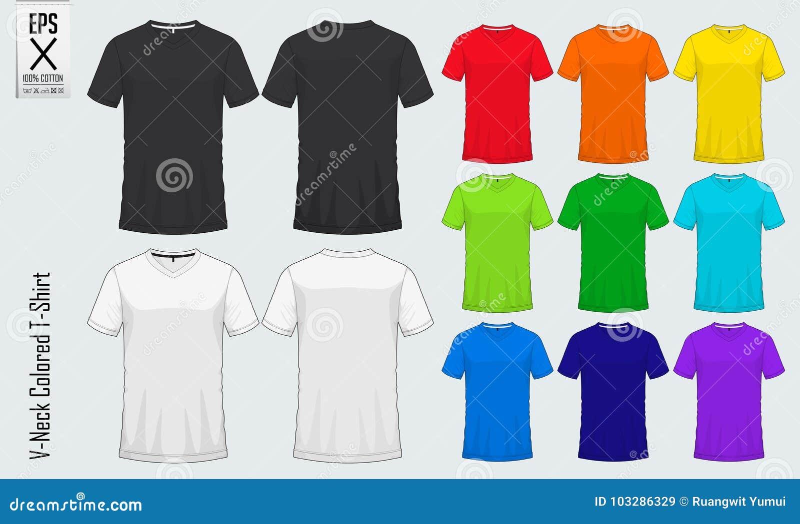 Moldes dos t-shirt do decote em V Modelo colorido da camisa na vista dianteira e na vista traseira para o basebol, futebol, futeb