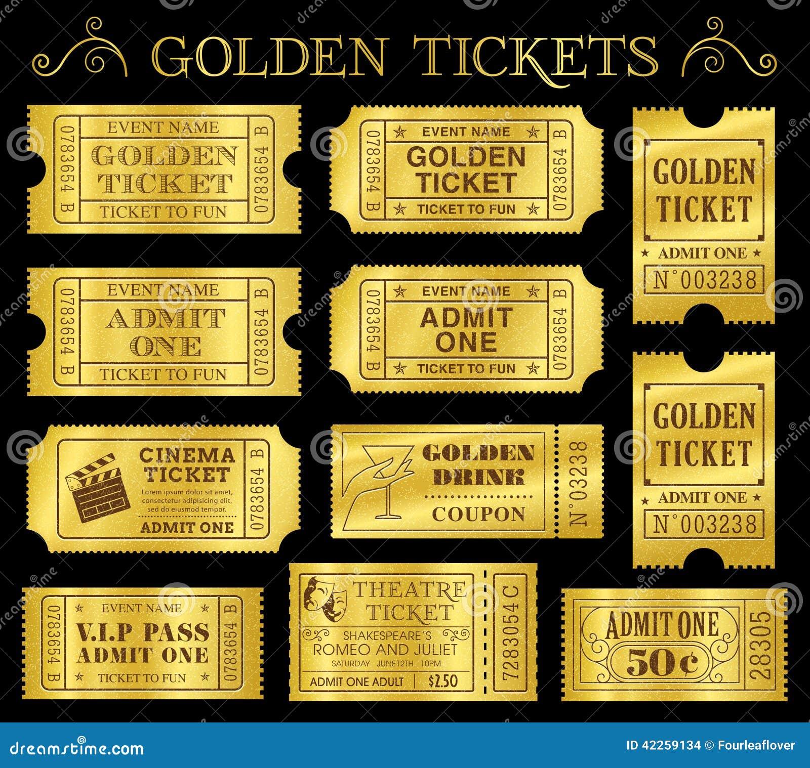 Moldes dourados do bilhete do vetor