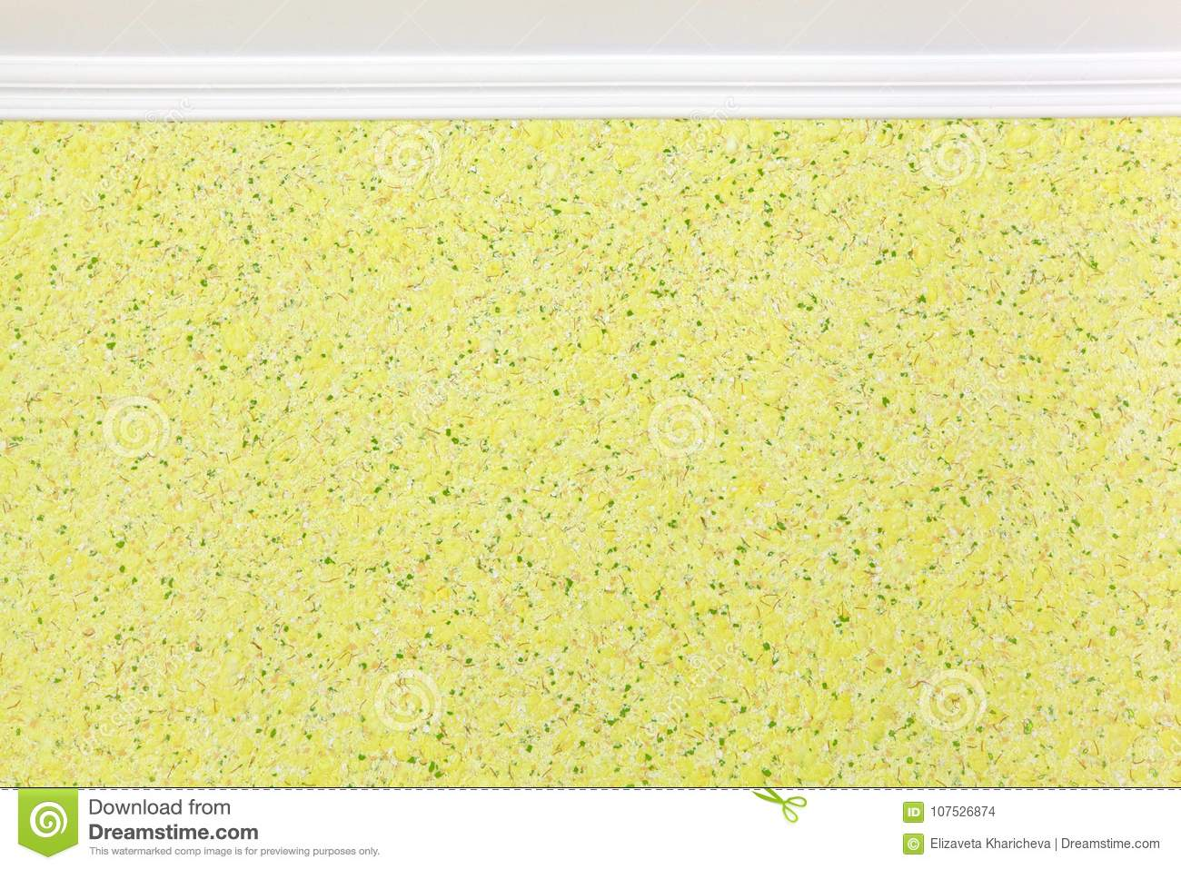 Molding And Wall With Yellow Liquid Wallpaper. Decorative, Textured ...
