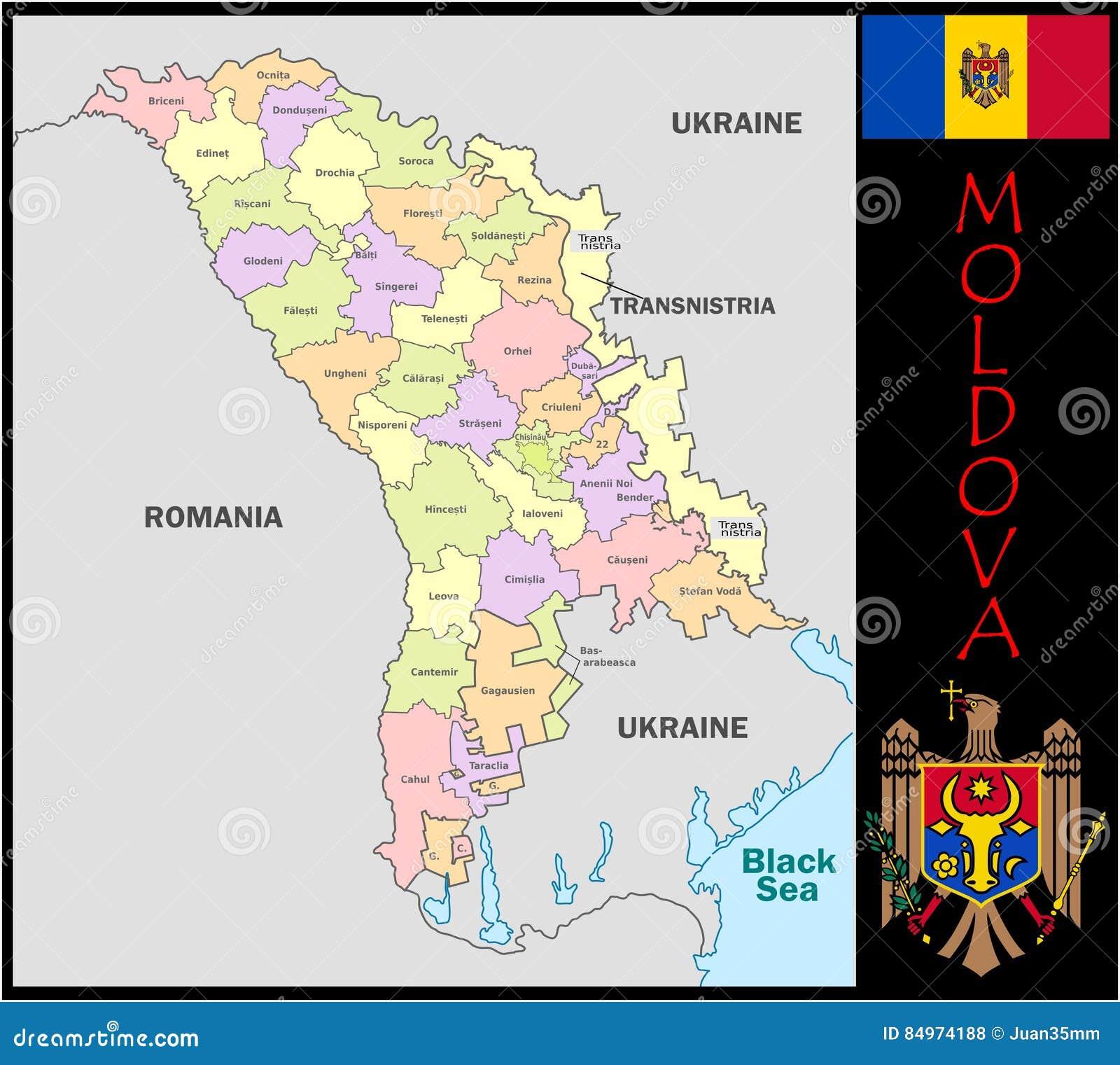 Moldova Administrative Divisions Stock Illustration