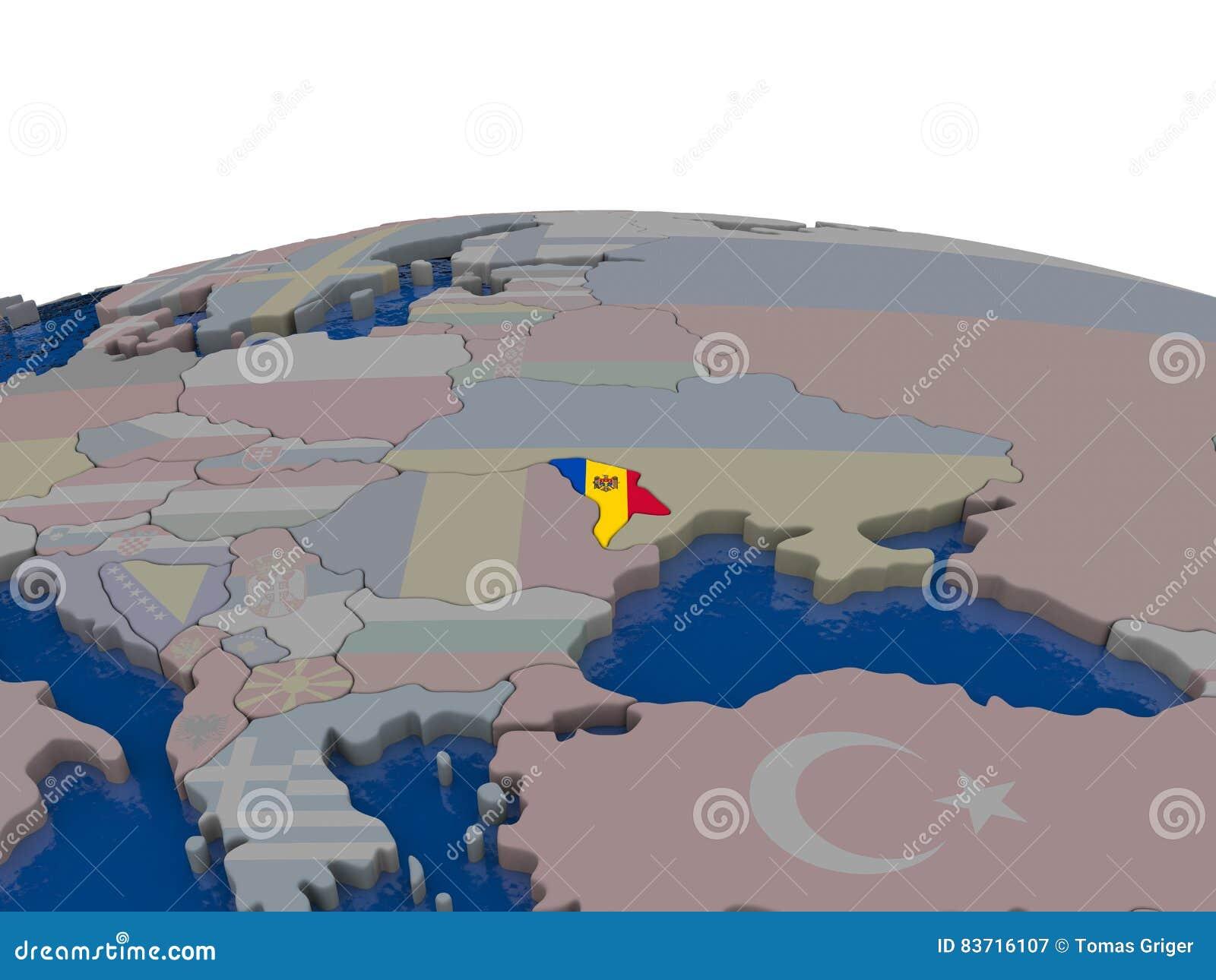 Moldova With Flag Stock Illustration