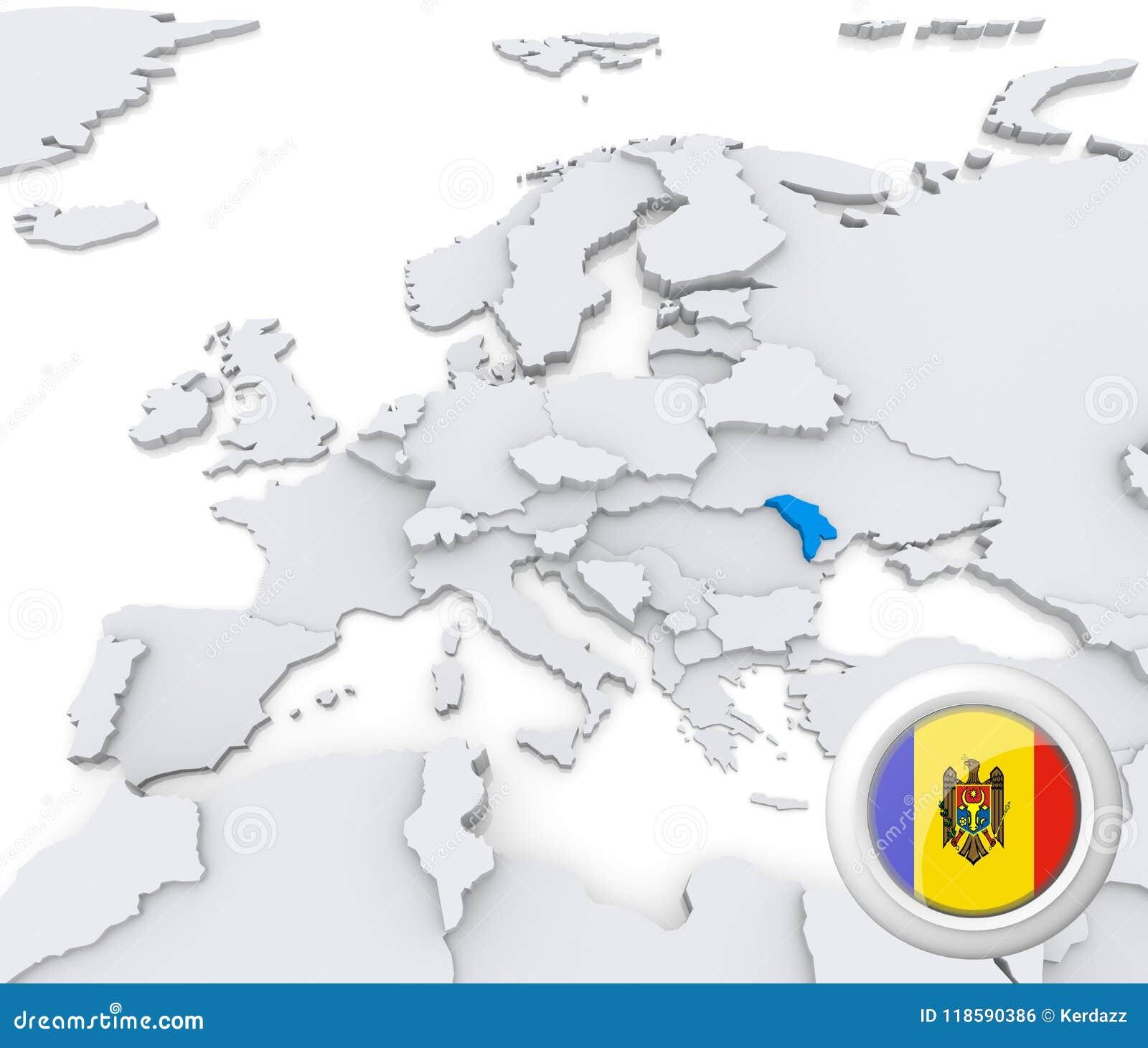 Moldova On Map Of Europe Stock Illustration Illustration Of Flag