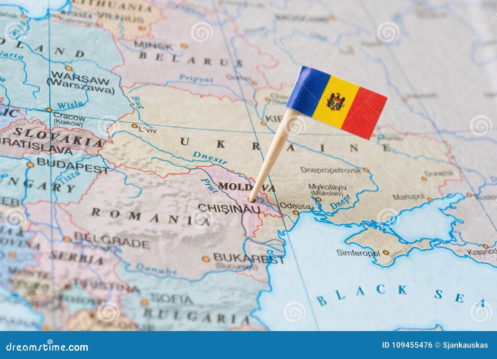 Moldova map and flag pin stock photo  Image of mark - 109455476
