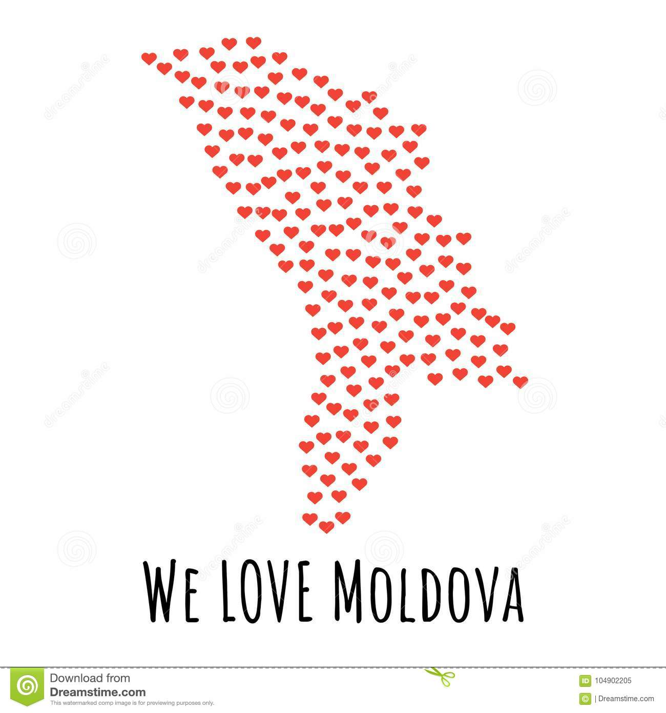 Moldova Map With Red Hearts Symbol Of Love Abstract Background