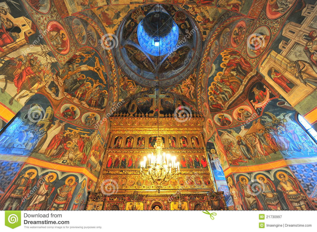 Moldovita Monastery Interior Saints Paintings Royalty