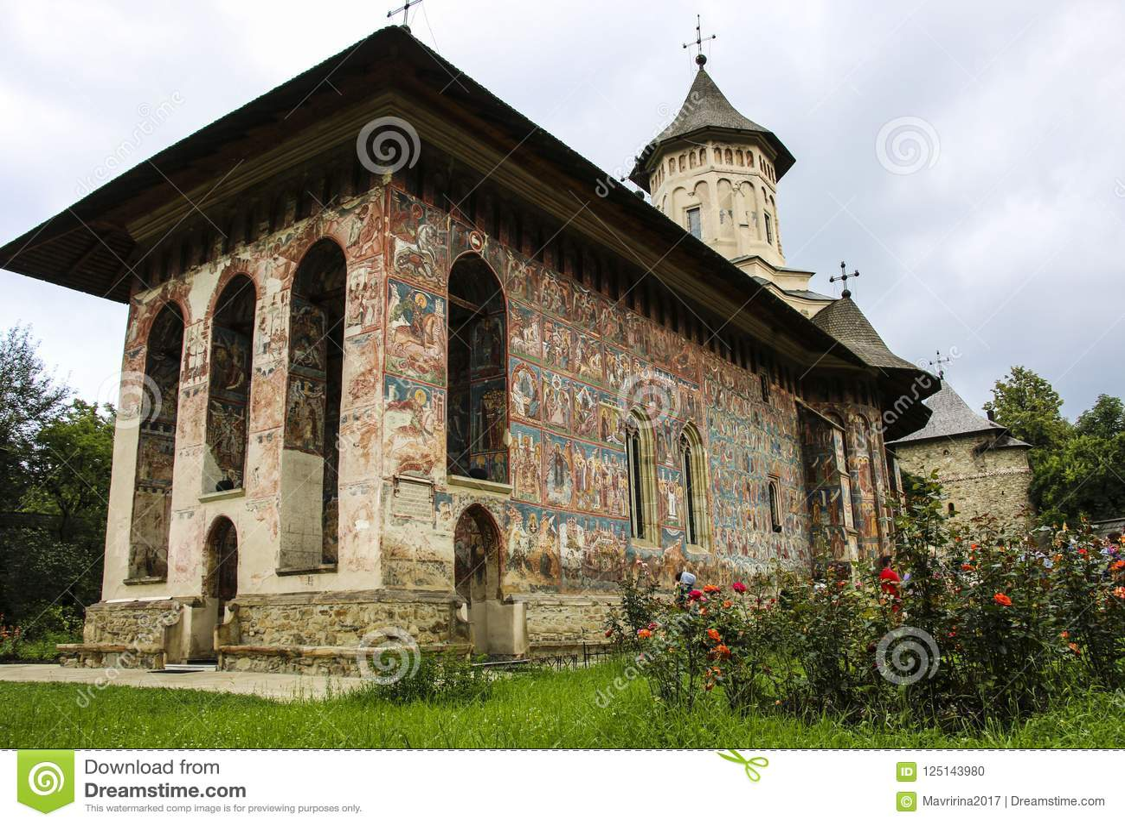 Moldovita ortodox målad kyrklig kloster, Moldavien, Bucovina,