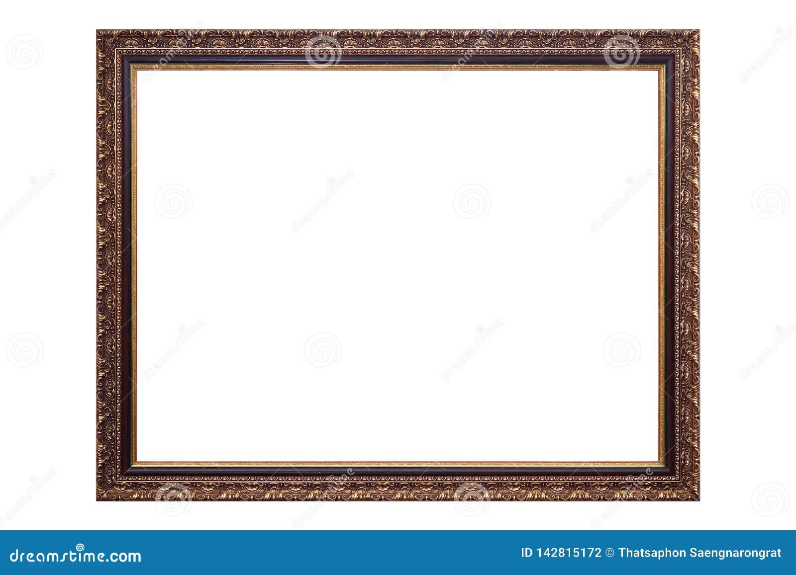 Moldura para retrato antiga do ouro isolada no fundo branco, trajeto de grampeamento