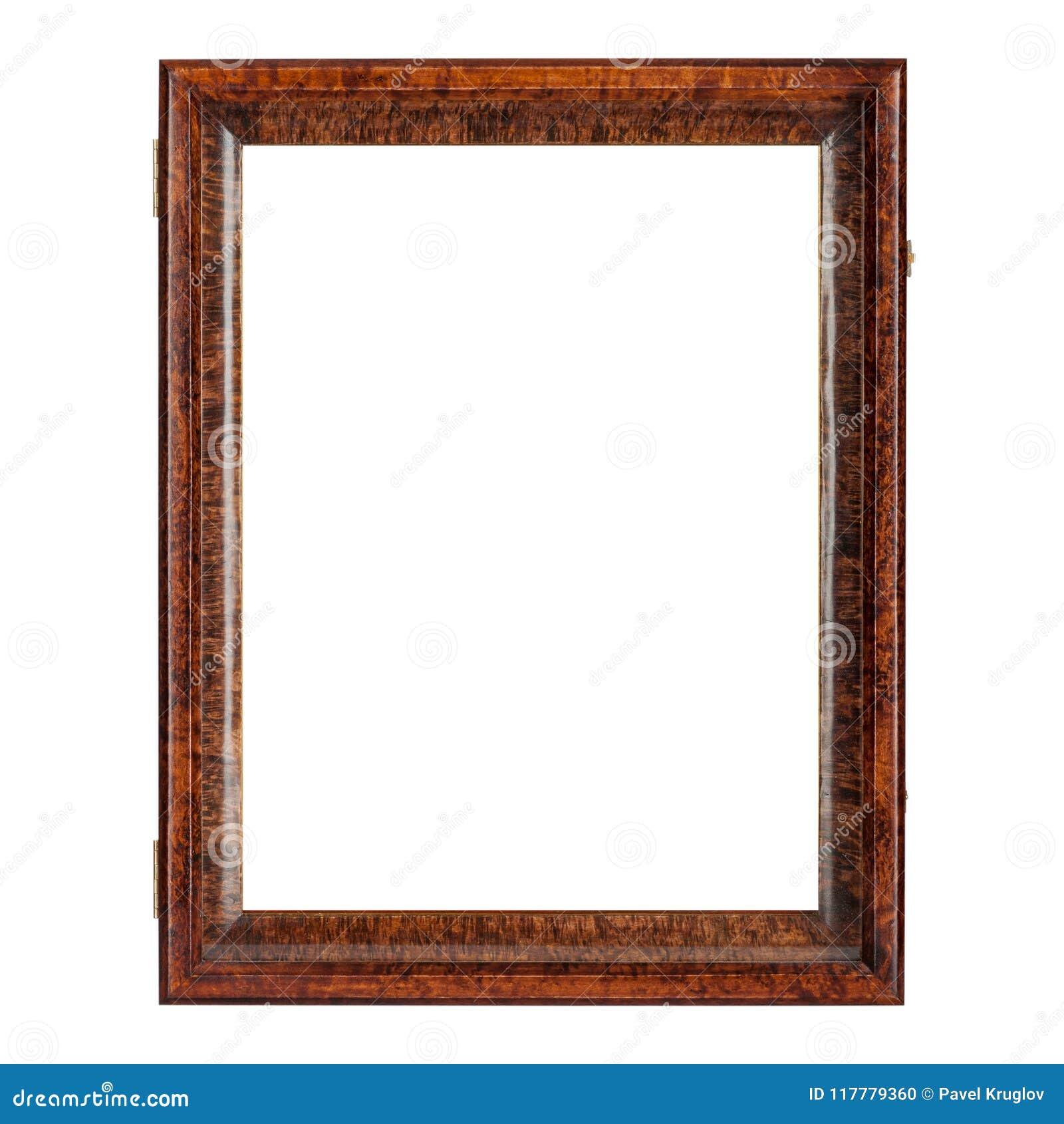 Moldura para retrato de madeira vazia da cor natural do marrom escuro