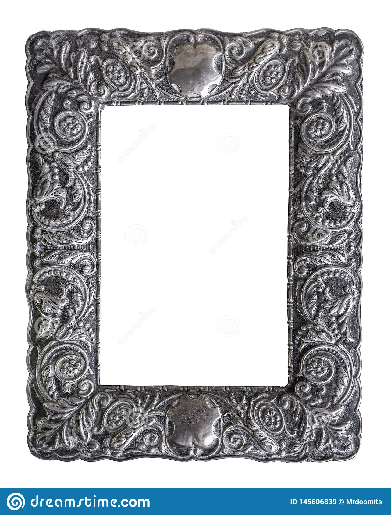 Moldura para retrato de prata ornamentado isolada