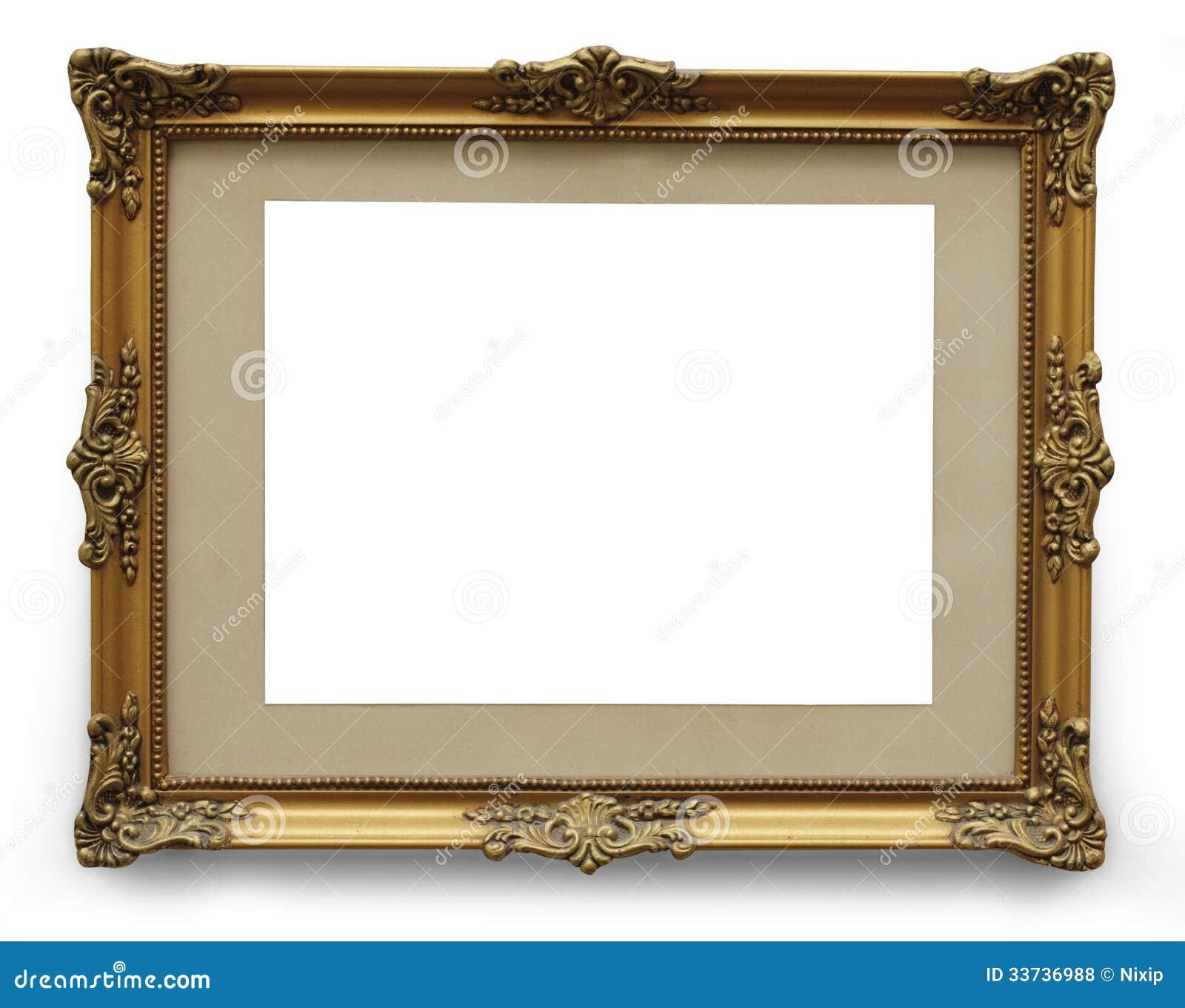 Moldura para retrato dourada antiga com trajeto de - Marcos clasicos para fotos ...