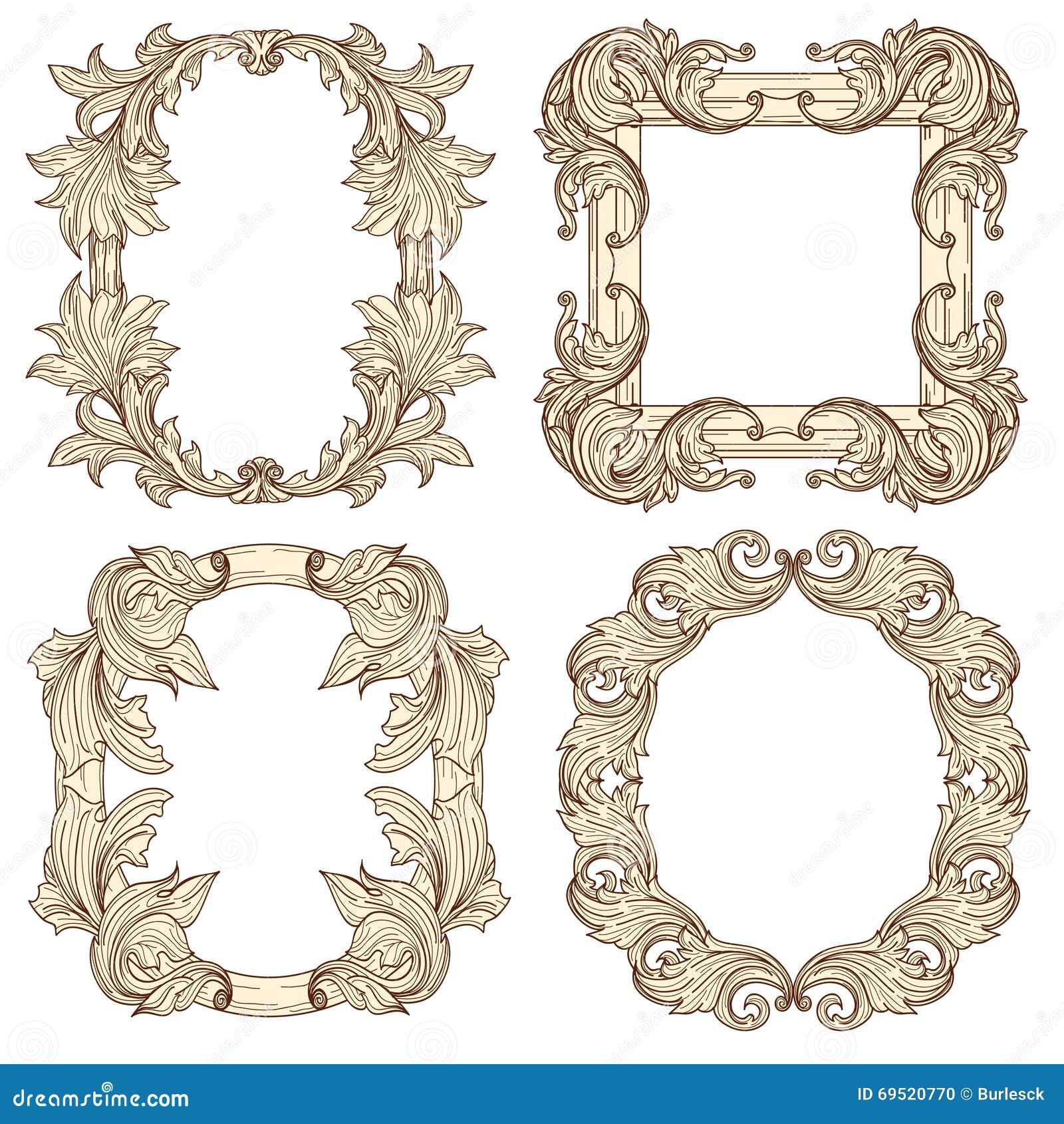 beb87a878582a Molduras para retrato no estilo antigo barroco Vetor que grava quadros  retros Quadro o vintage decorativo