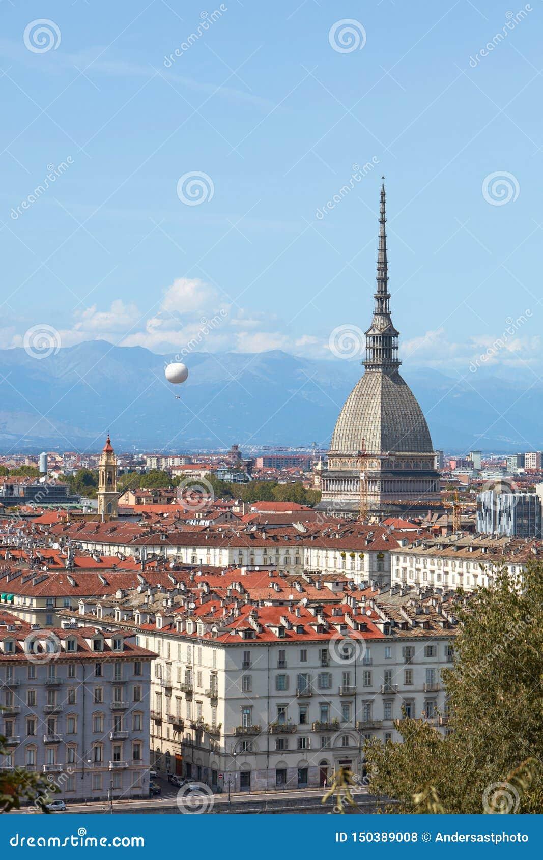 Mole Antonelliana Tower And Hot Air Balloon Over Turin ...