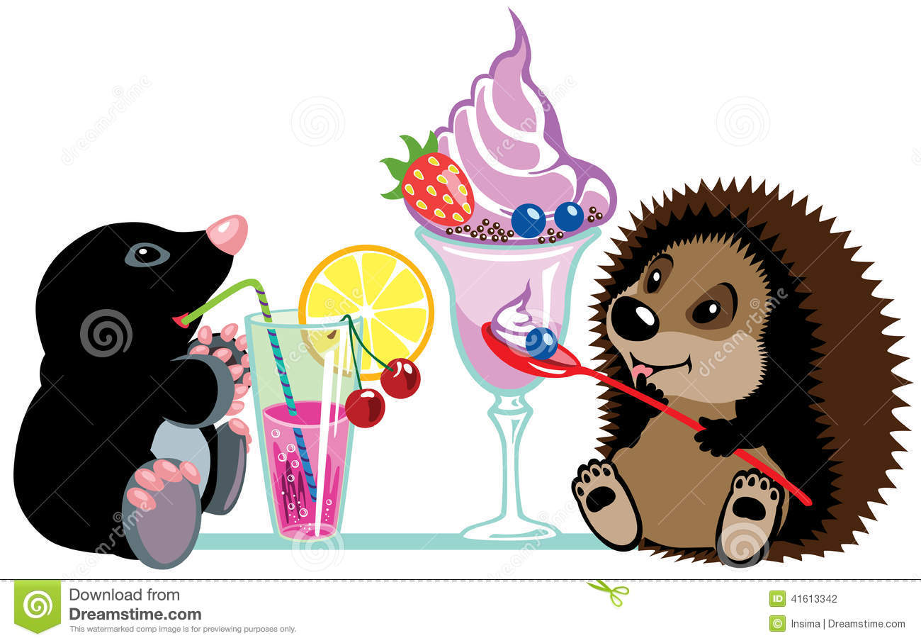 Mole and hedgehog eating desserts