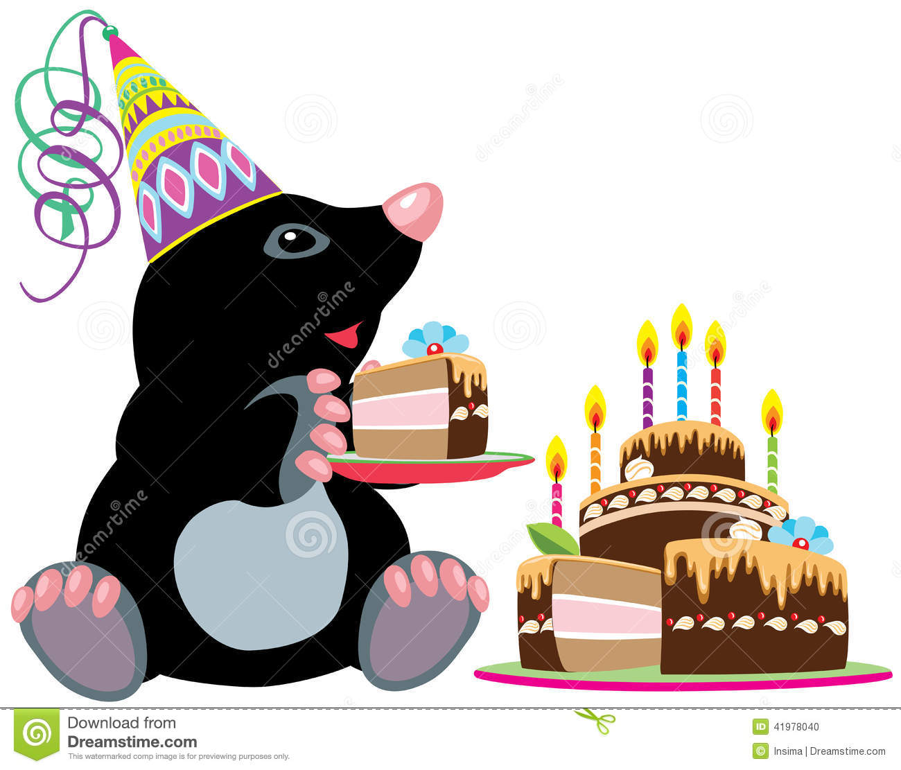 Mole Holding A Piece Of Cake Stock Vector Image 41978040
