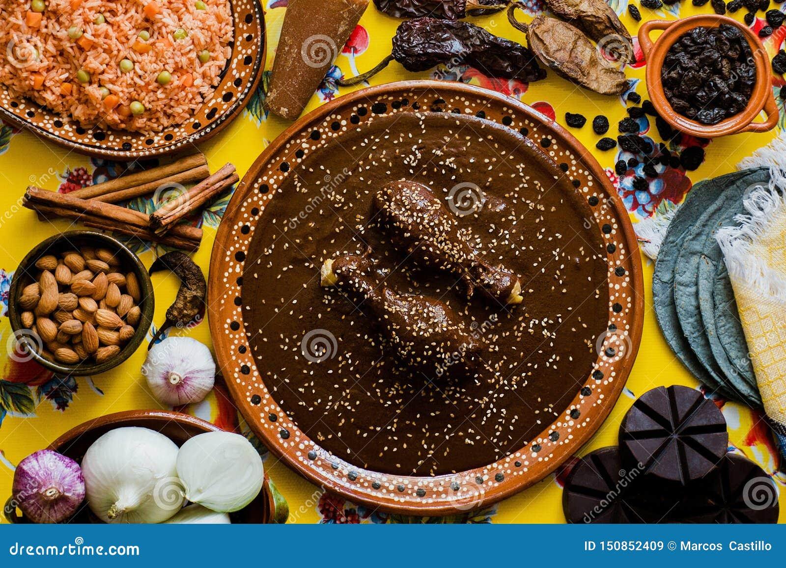 Mole Mexicano, Poblanomolebestandteile, mexikanische würzige Nahrung traditionell in Mexiko