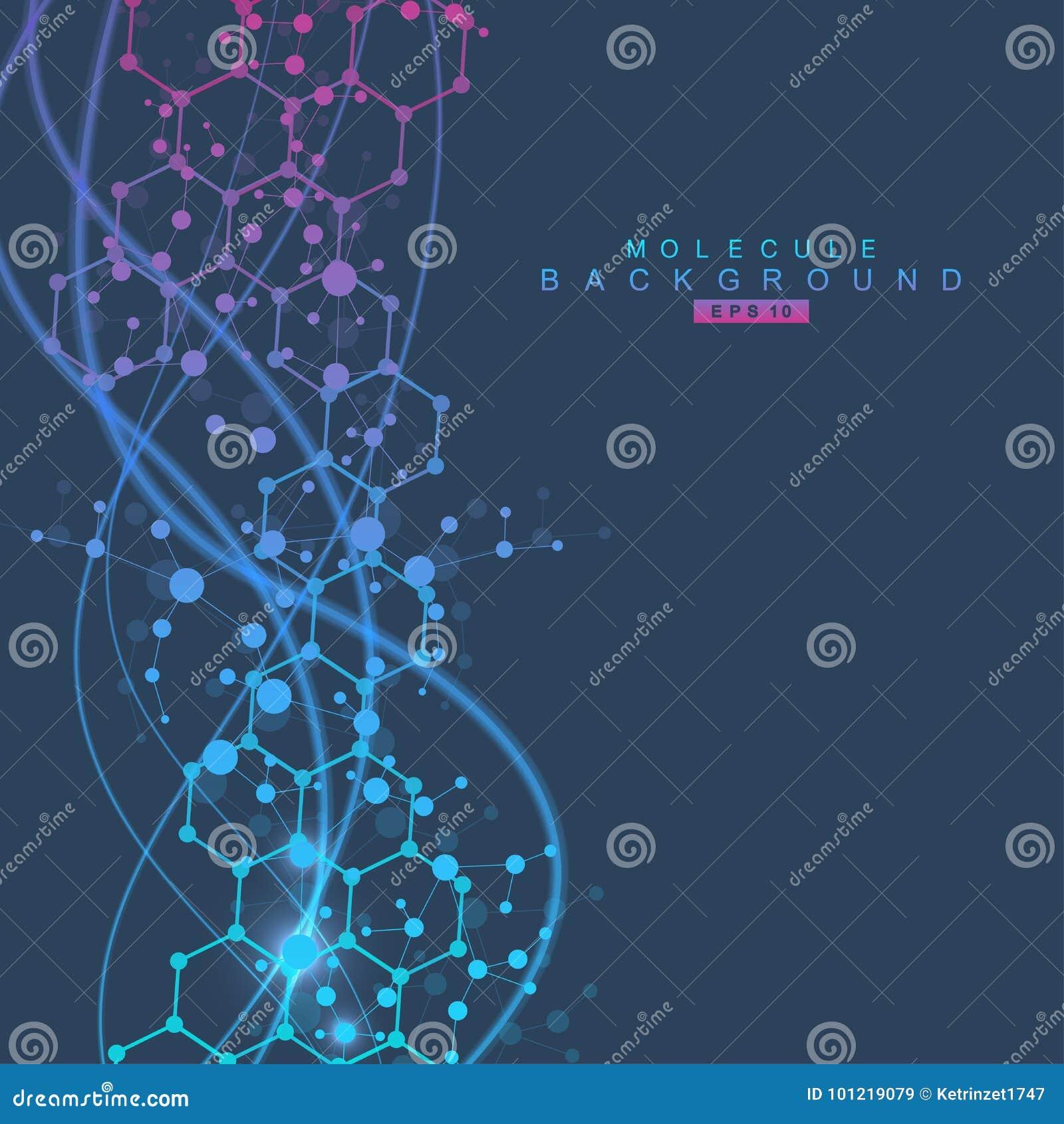 Molecola e comunicazione della struttura DNA, atomo, neuroni Concetto scientifico per la vostra progettazione Linee collegate con