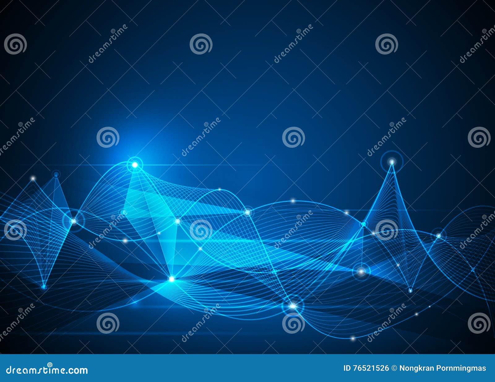 Molecole e Mesh Lines astratti Futuristico, concetto di tecnologia della comunicazione