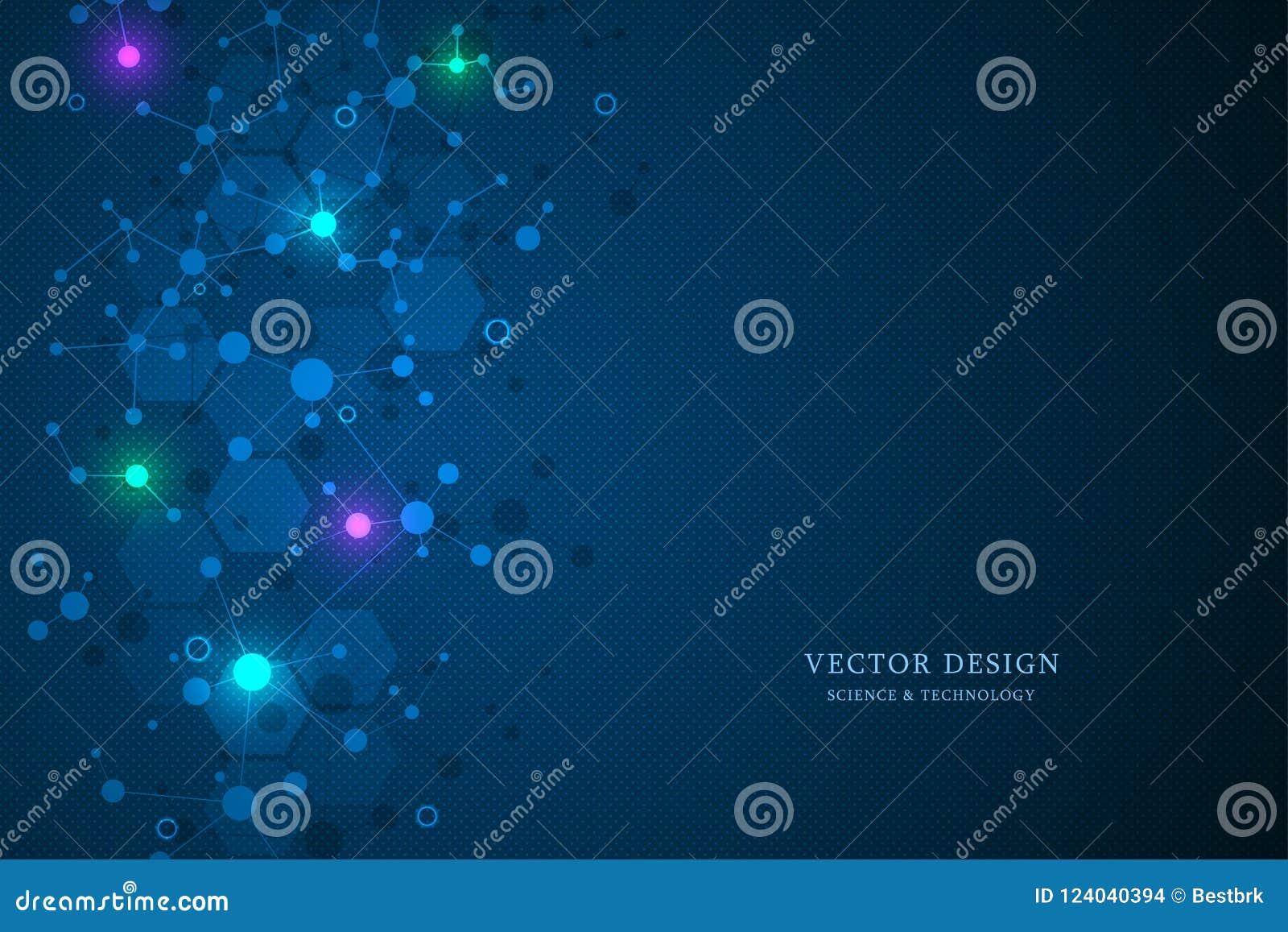 Moleculaire structuurachtergrond en mededeling Abstracte achtergrond van moleculedna Medisch, wetenschap en digitale technologie