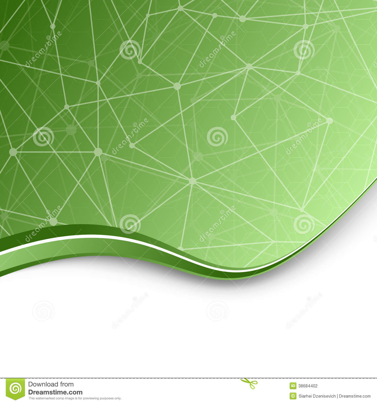 Molecular Chemistry Green Background Template Stock Vector