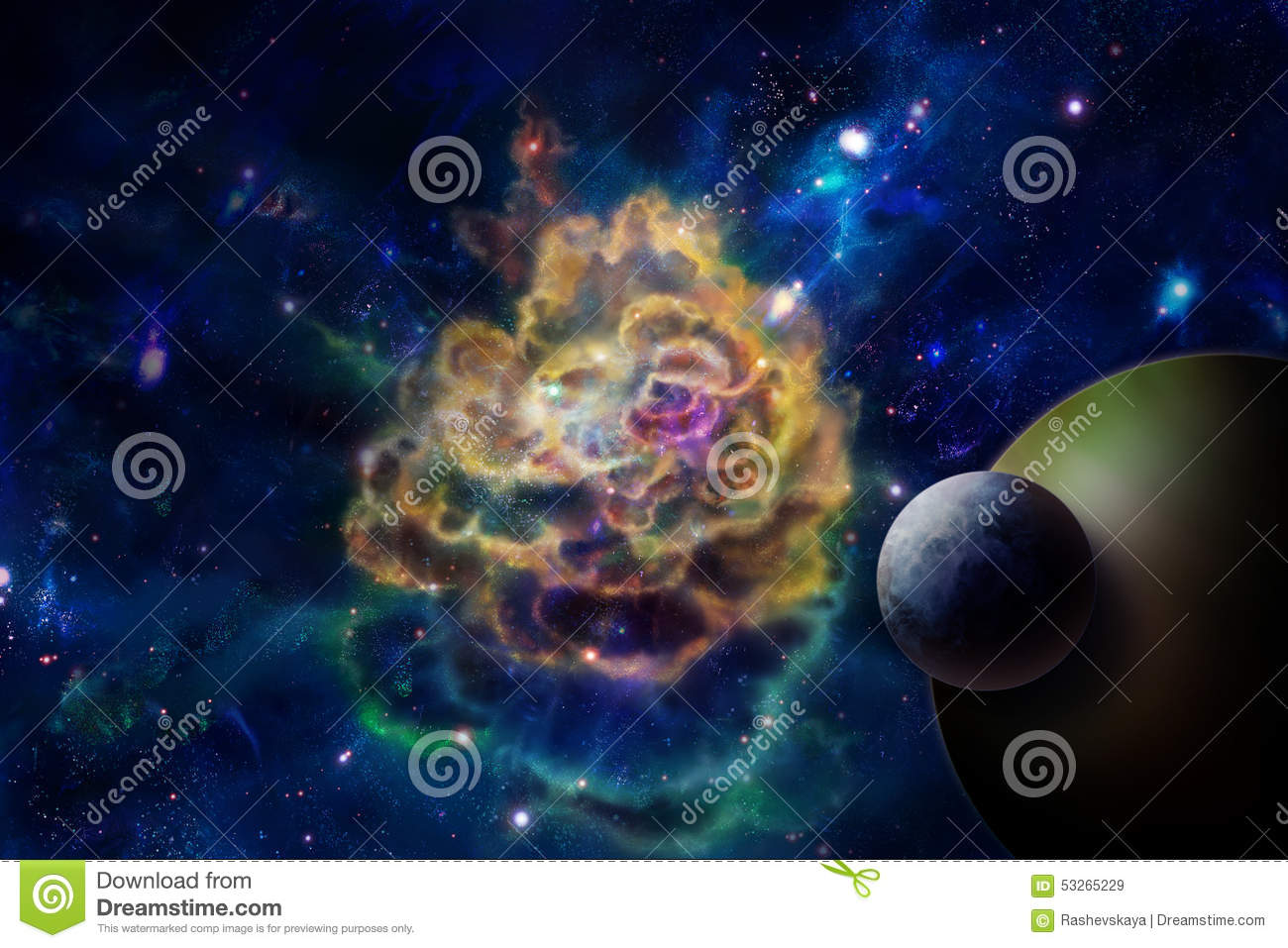 Molecular cloud and a planet