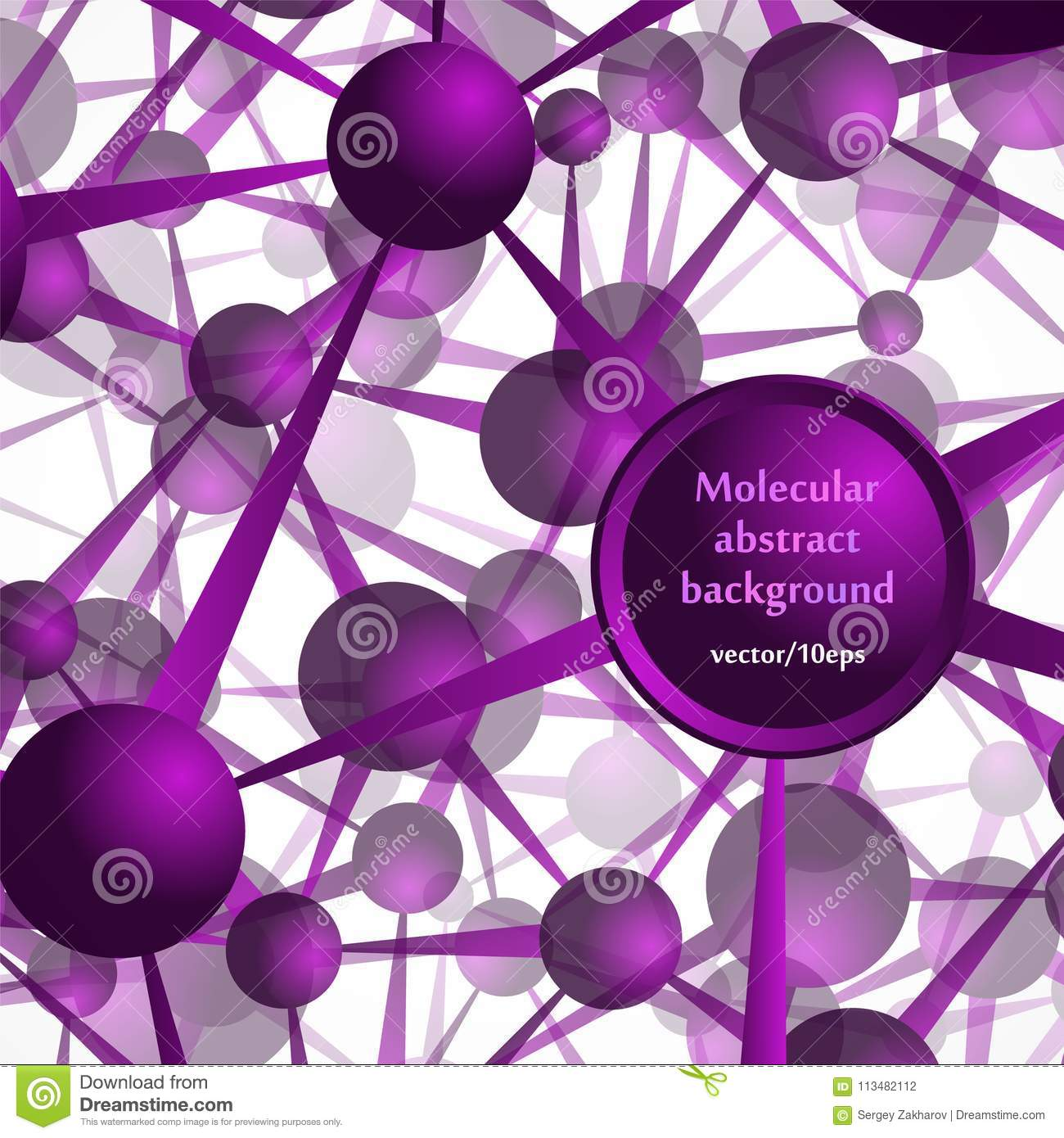 The molecular structure, the atoms. Abstract background in purple tones.