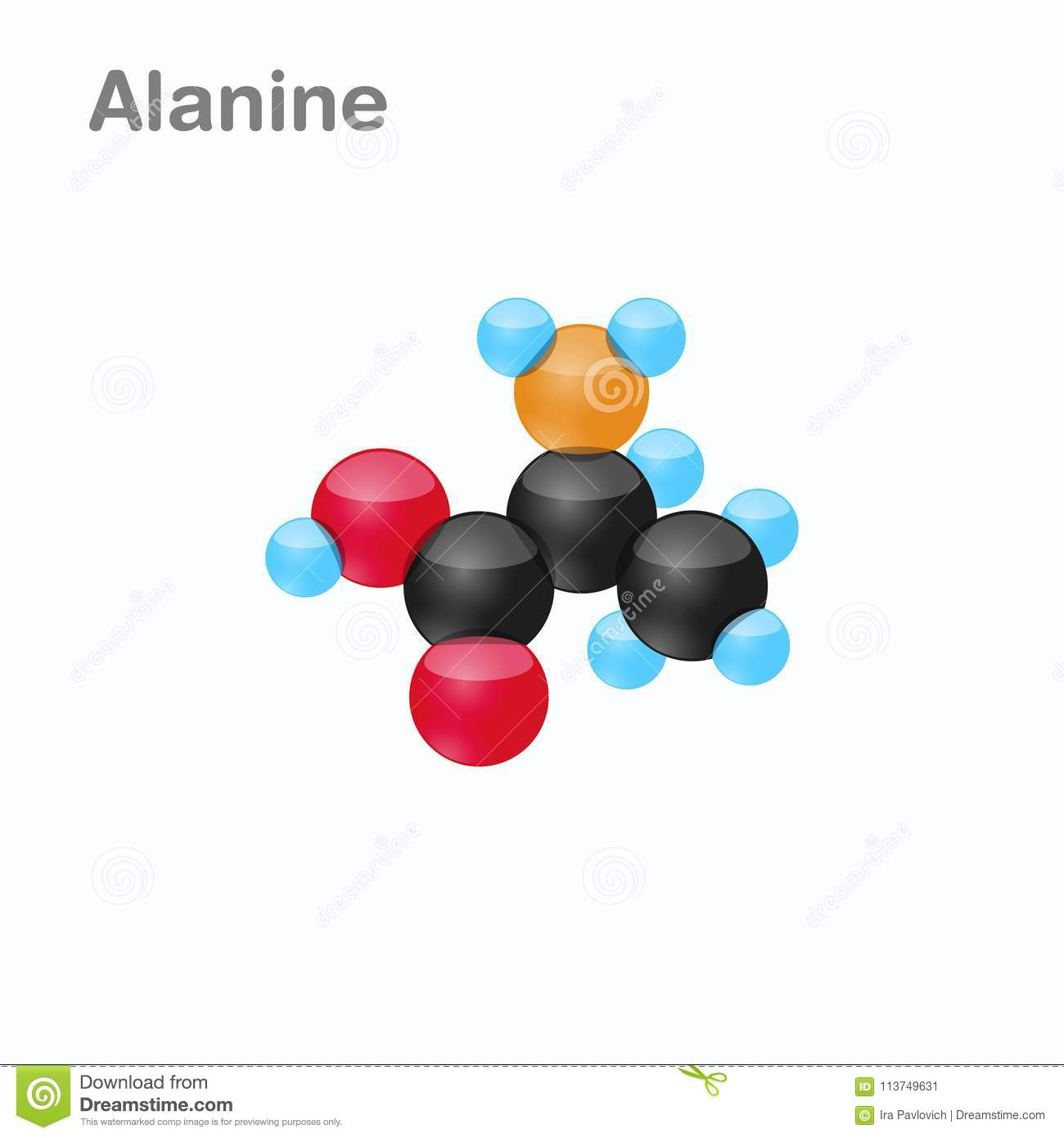 Molecule Alanine Ala Amino Acid Used Biosynthesis Proteins Vector Illustration Isolated