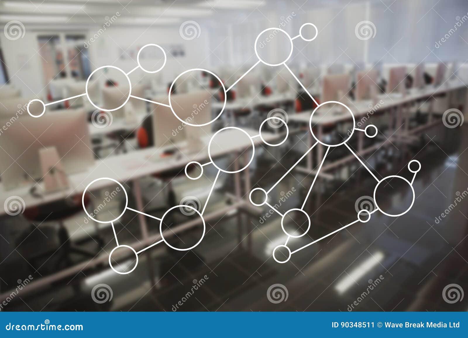 Molekuły struktura na szkle w biurze