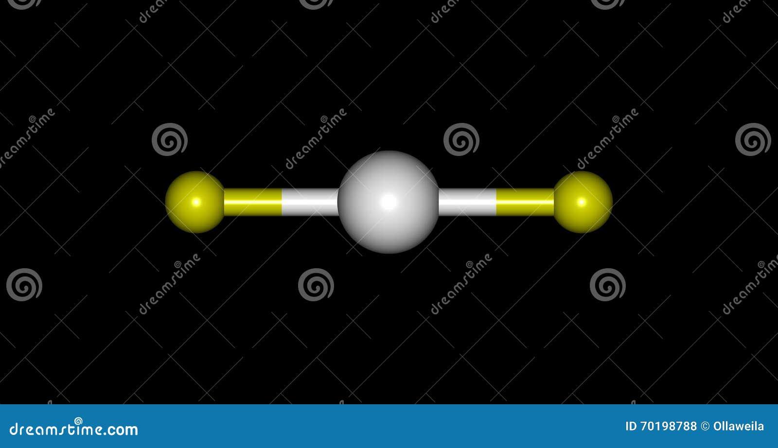 Molekylär struktur för Xenondifluoride som isoleras på svart illustration 3d