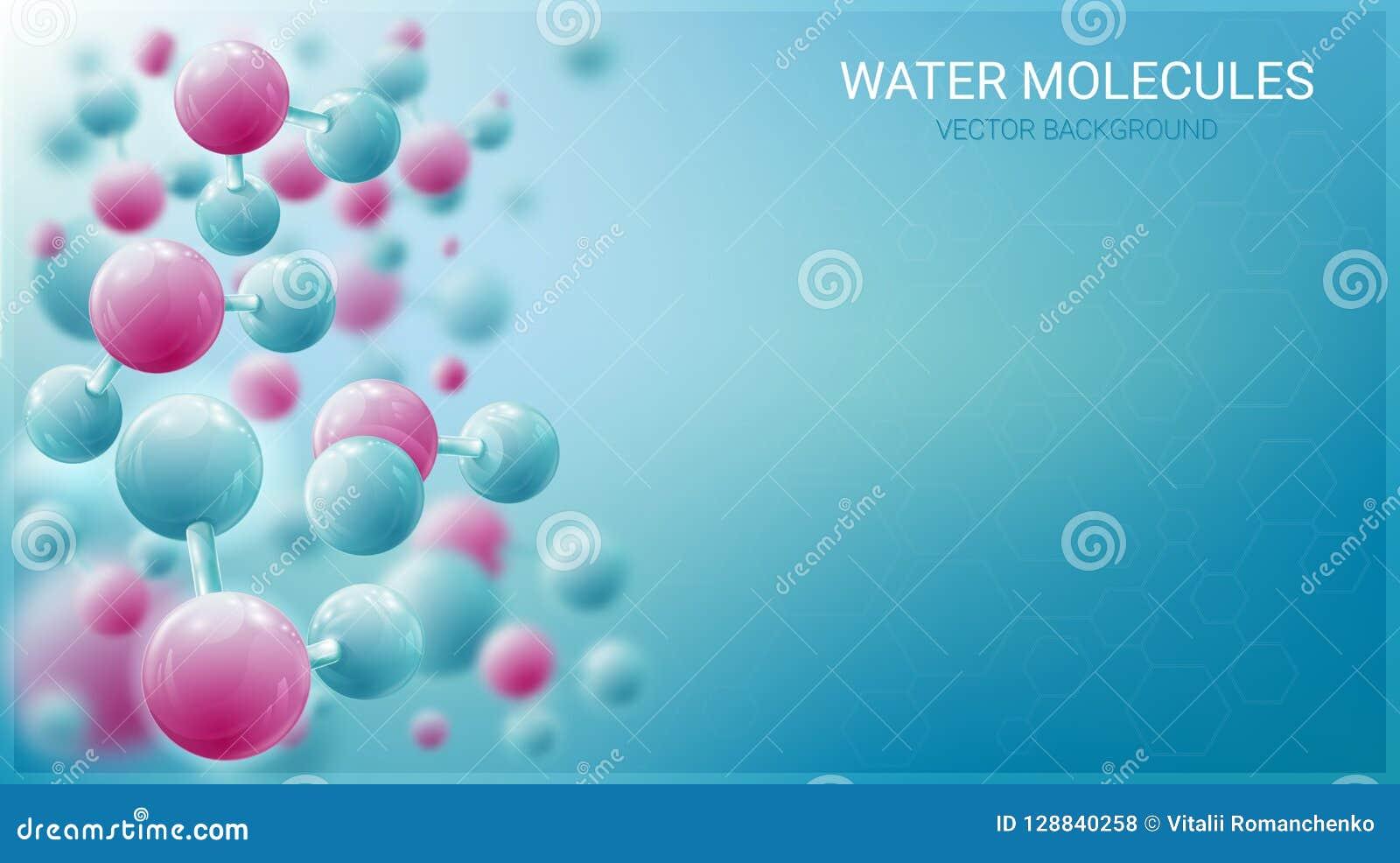 Molekylar av vatten i rörelse Lysande atomer suddighet bakgrundsblue Kaotiska partiklar Medicin vetenskap, teknologi
