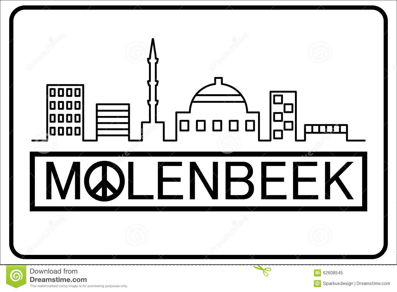 Molenbeek Text With Buildings Outline Stock Vector Illustration Of