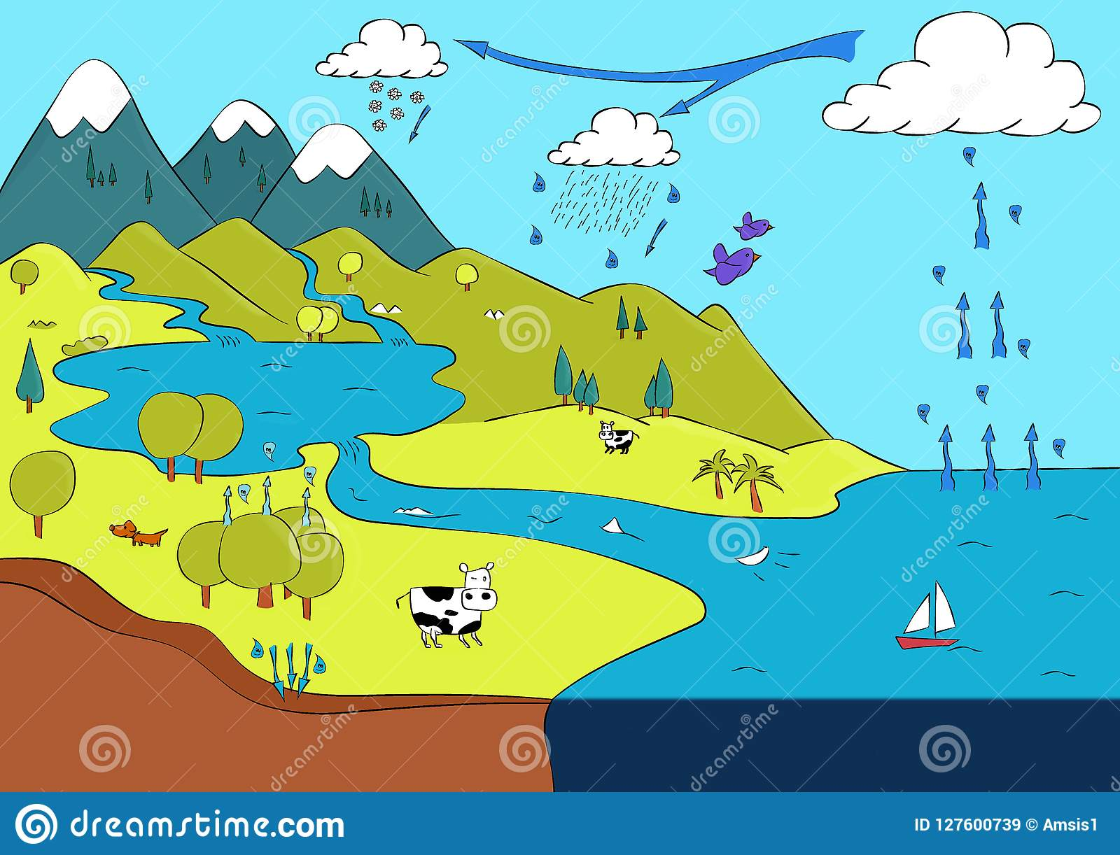 Molhe O Ciclo, Infographic Entre A Terra, O Mar E O Céu