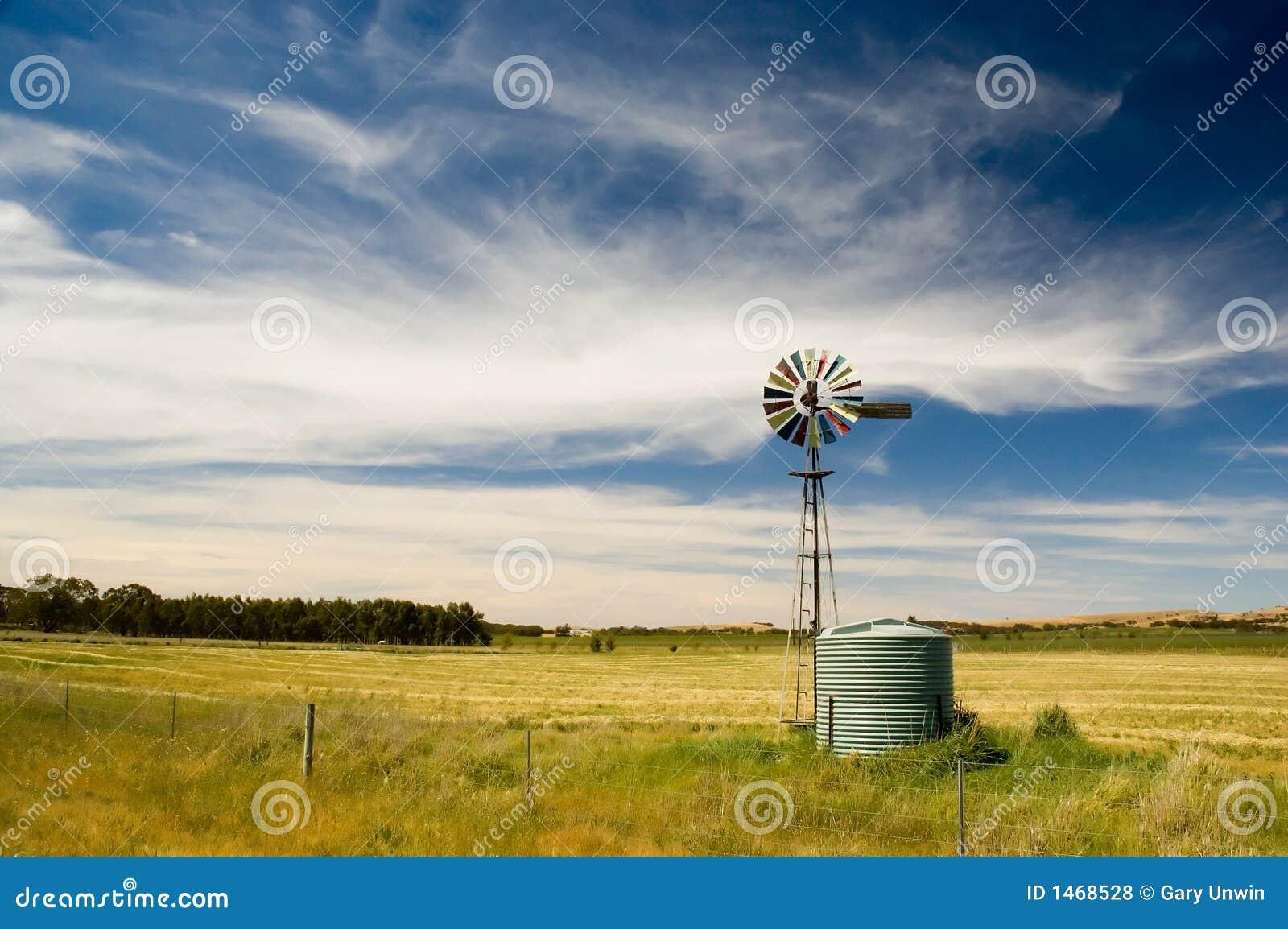 Molino de viento en el país