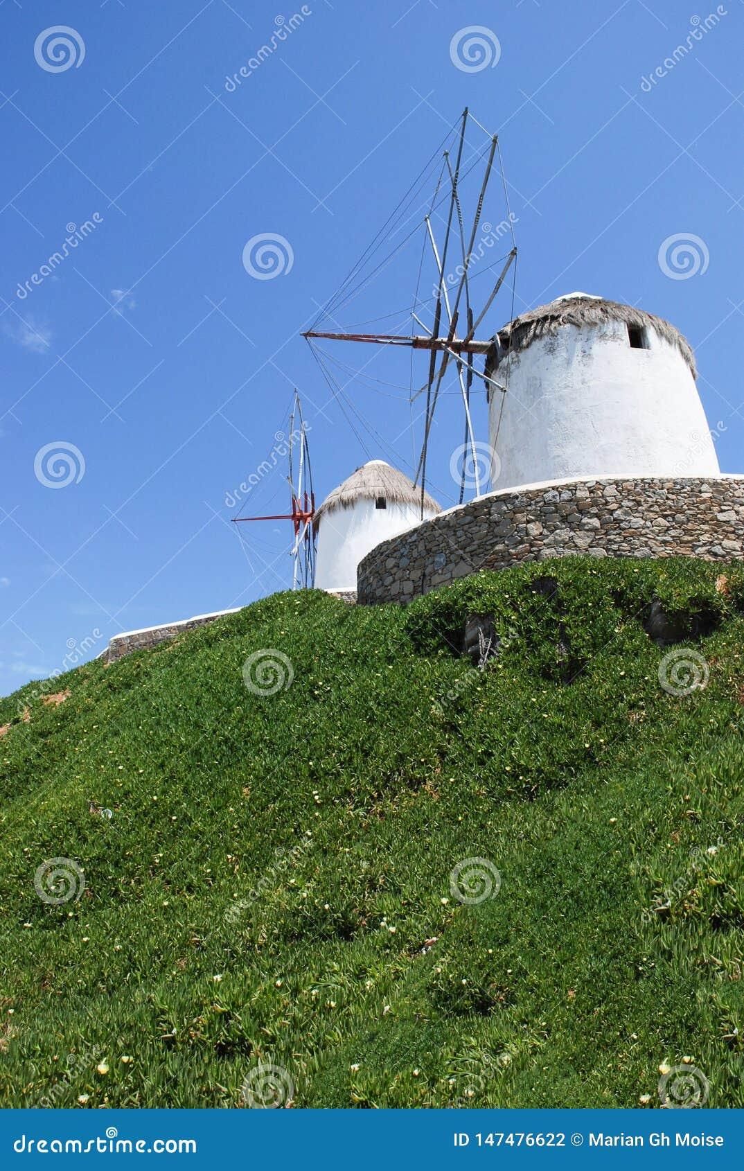 Molinoes de viento de Mykonos, se?al famosa Grecia