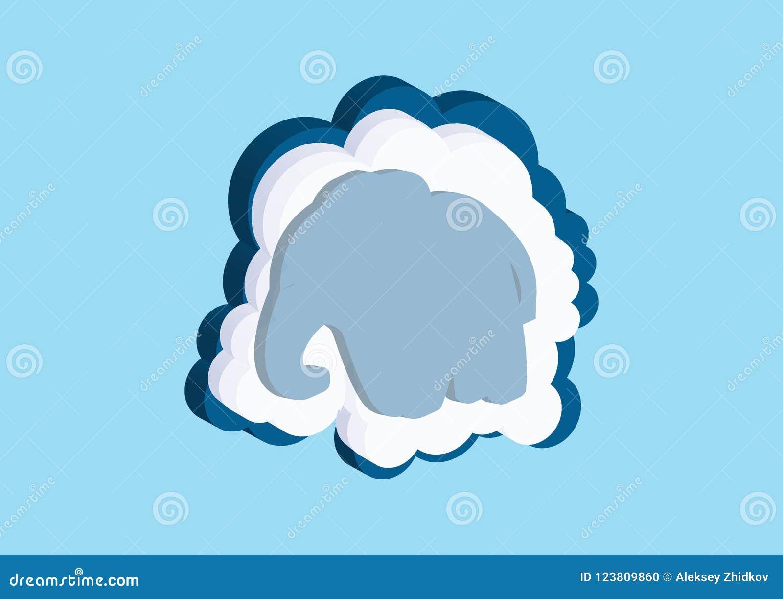 Moln i form av en elefant Vektorsymboler fördunklar blått- och vitfärg på en blå bakgrund Himmel är en tät samling av illus