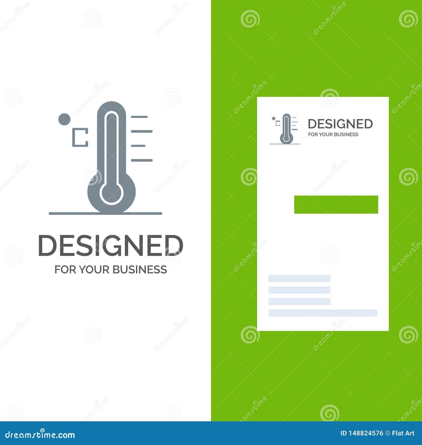 Moln, ljust, regnigt, sol, temperatur Grey Logo Design och mall för affärskort