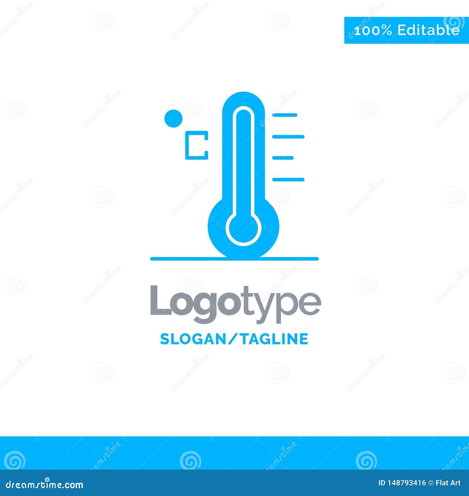 Moln ljust som är regnigt, sol, temperatur blåa fasta Logo Template St?lle f?r Tagline