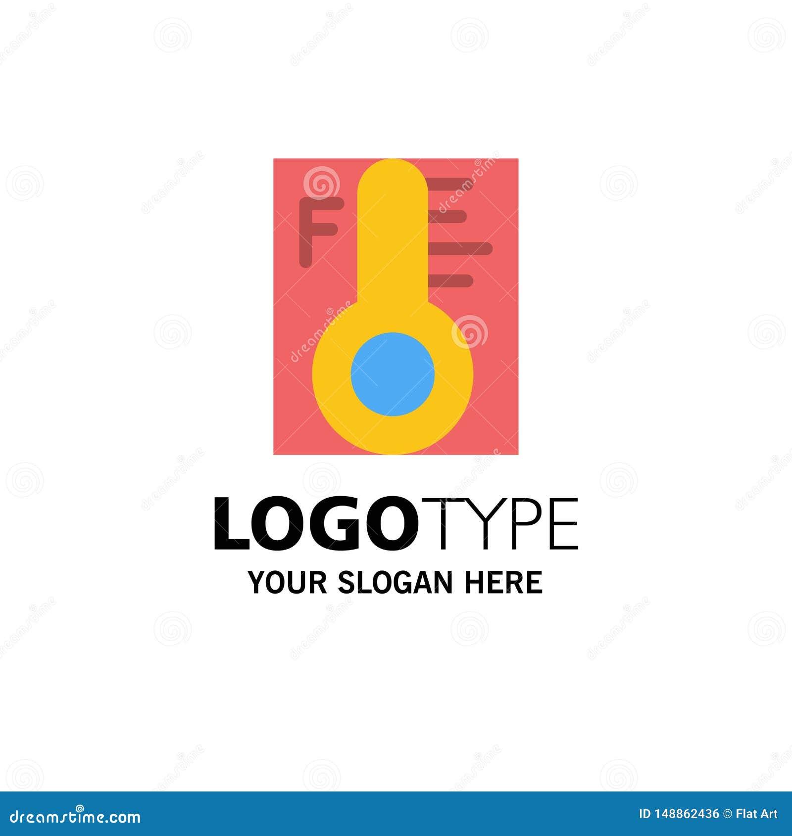 Moln ljust som är regnigt, sol, temperaturaffär Logo Template plan f?rg