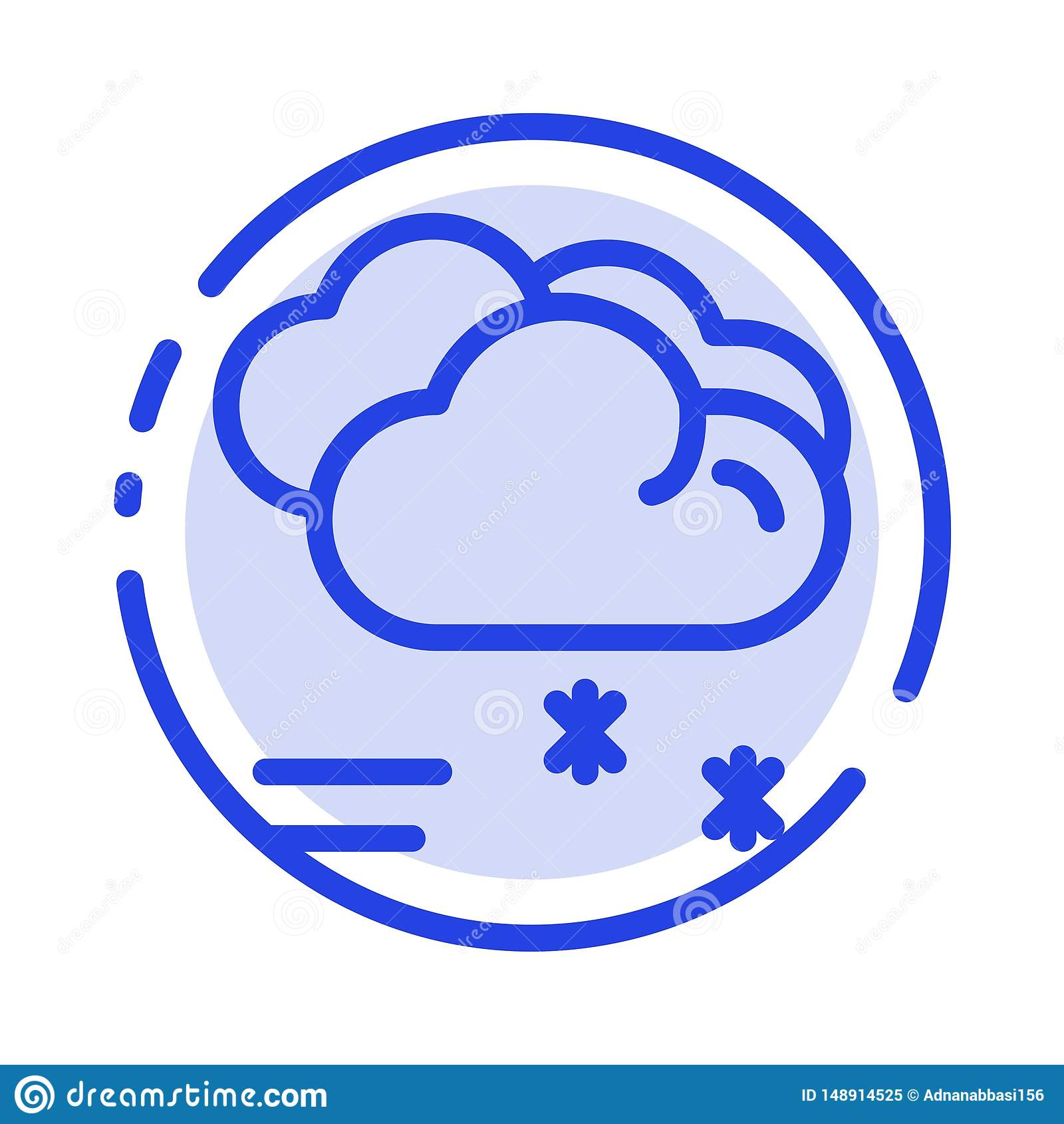 Moln som regnar, förutsett och att regna, blå prickig linje linje symbol för regnigt väder