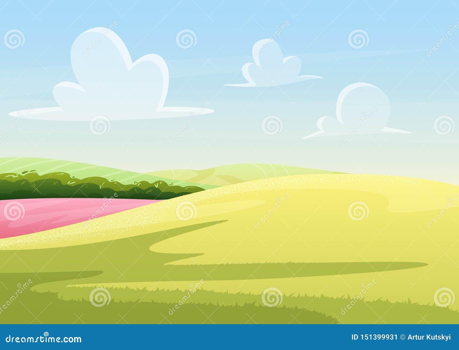 Moln som svävar på blå himmel över fridsamt fält med för vektorillustration för grönt gräs landskap