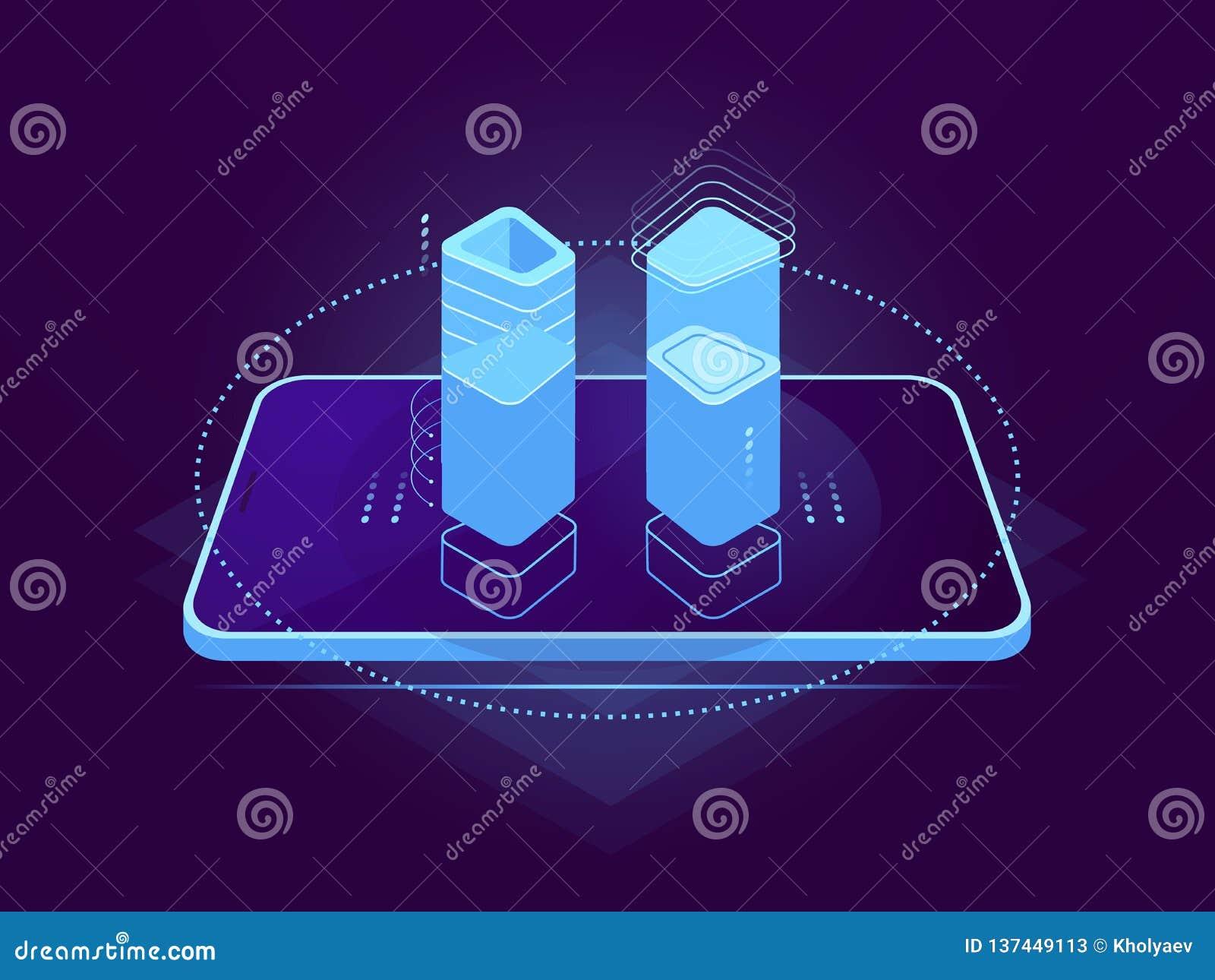 Molnserver som är värd, mobil manöverenhet, holographic kontrollmoment, molnlagring, lager för avlägsen mapp för databas