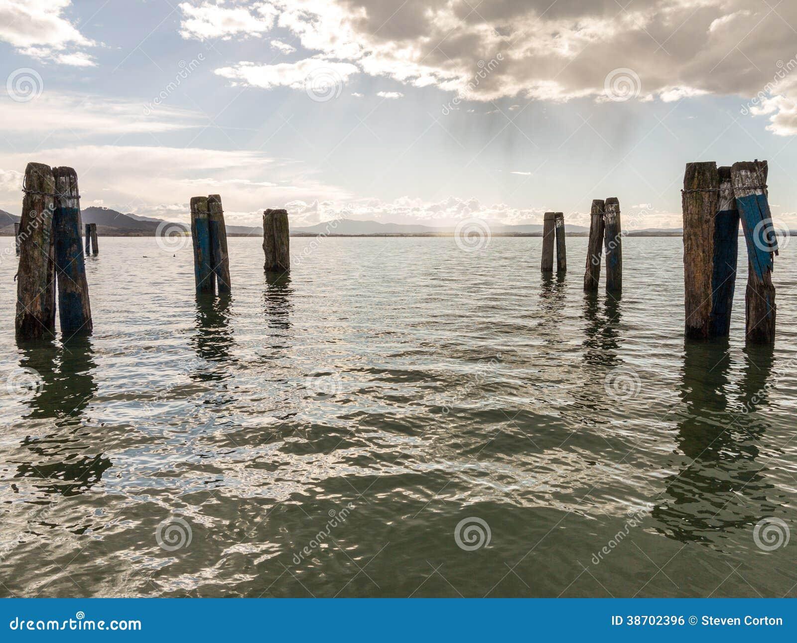 Molo nogi w wodzie