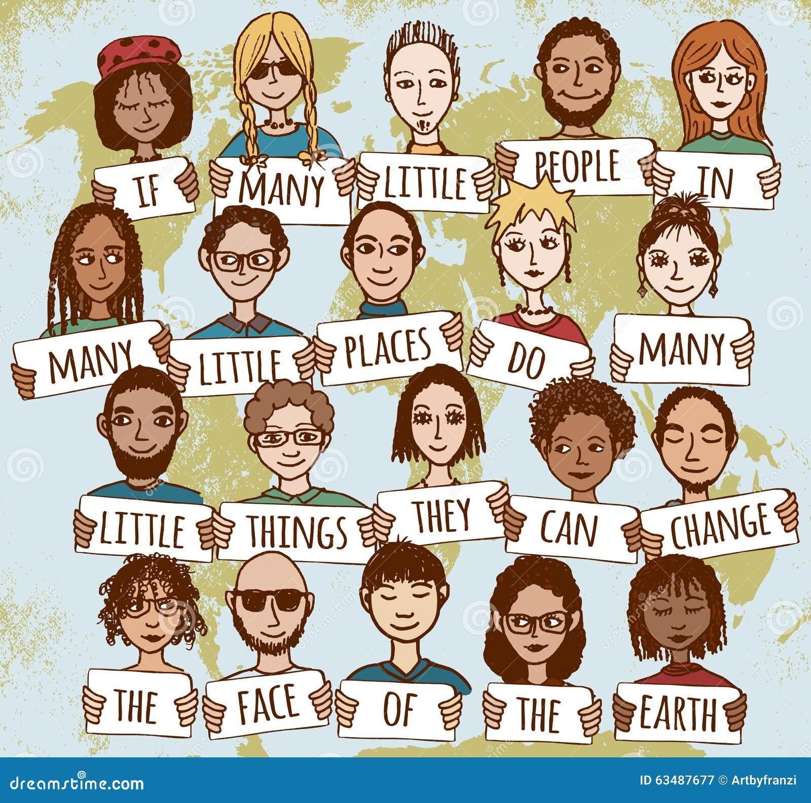 Molta piccola gente che mostra gentilezza intorno al mondo